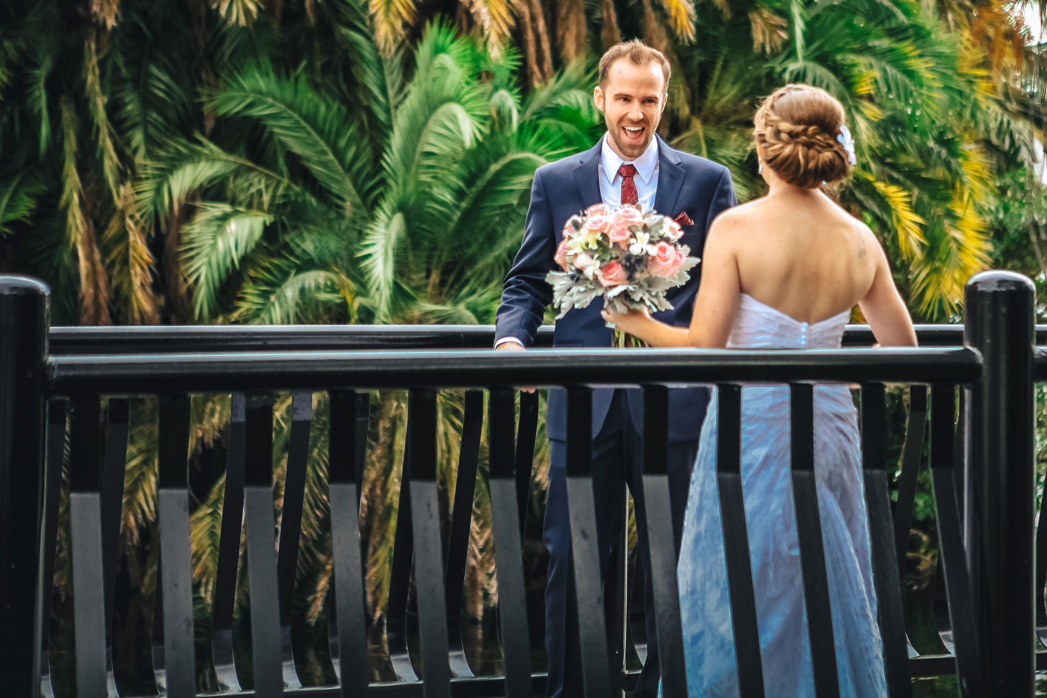 Downtown Orlando Wedding at Lake Lucerne Christmas Theme Red Dress Navy Suits 073.jpg