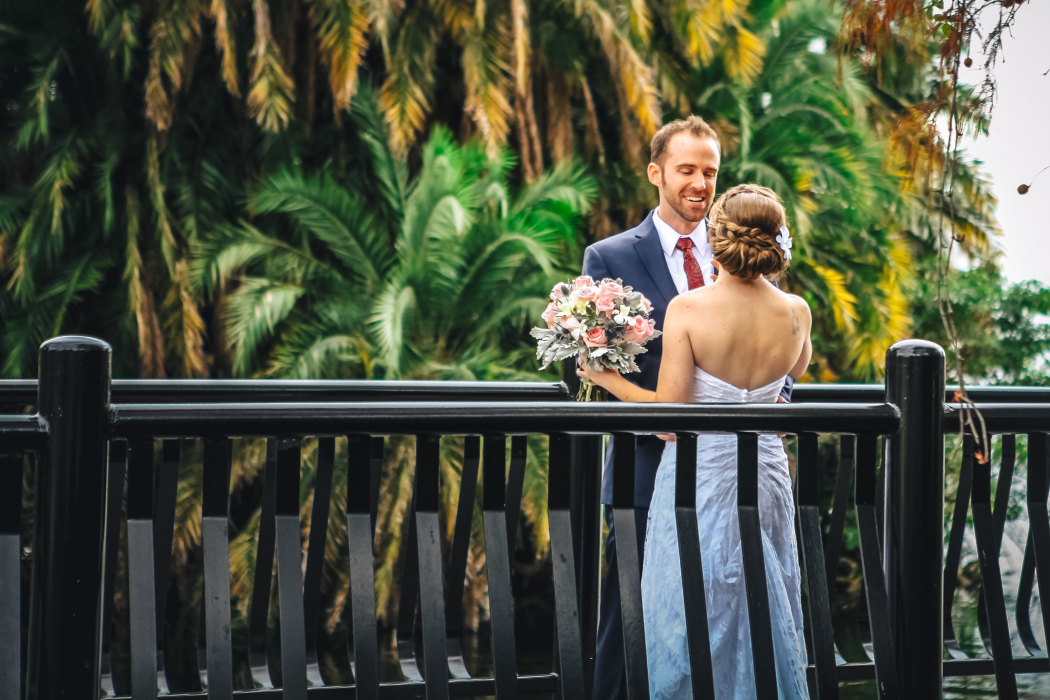 Downtown Orlando Wedding at Lake Lucerne Christmas Theme Red Dress Navy Suits 076.jpg