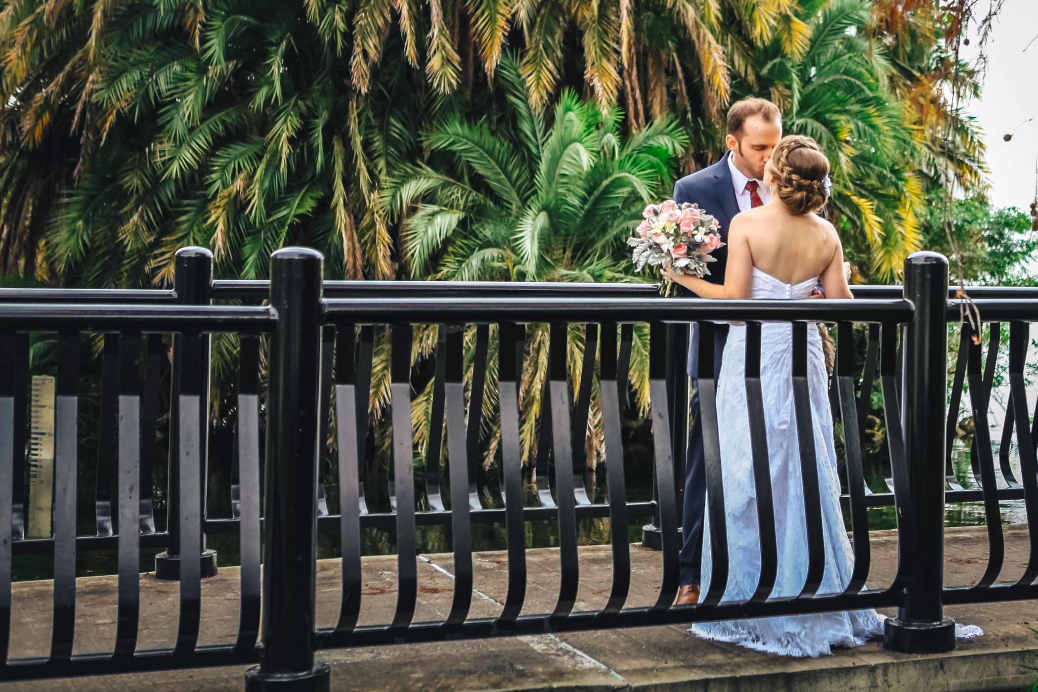 Downtown Orlando Wedding at Lake Lucerne Christmas Theme Red Dress Navy Suits 075.jpg