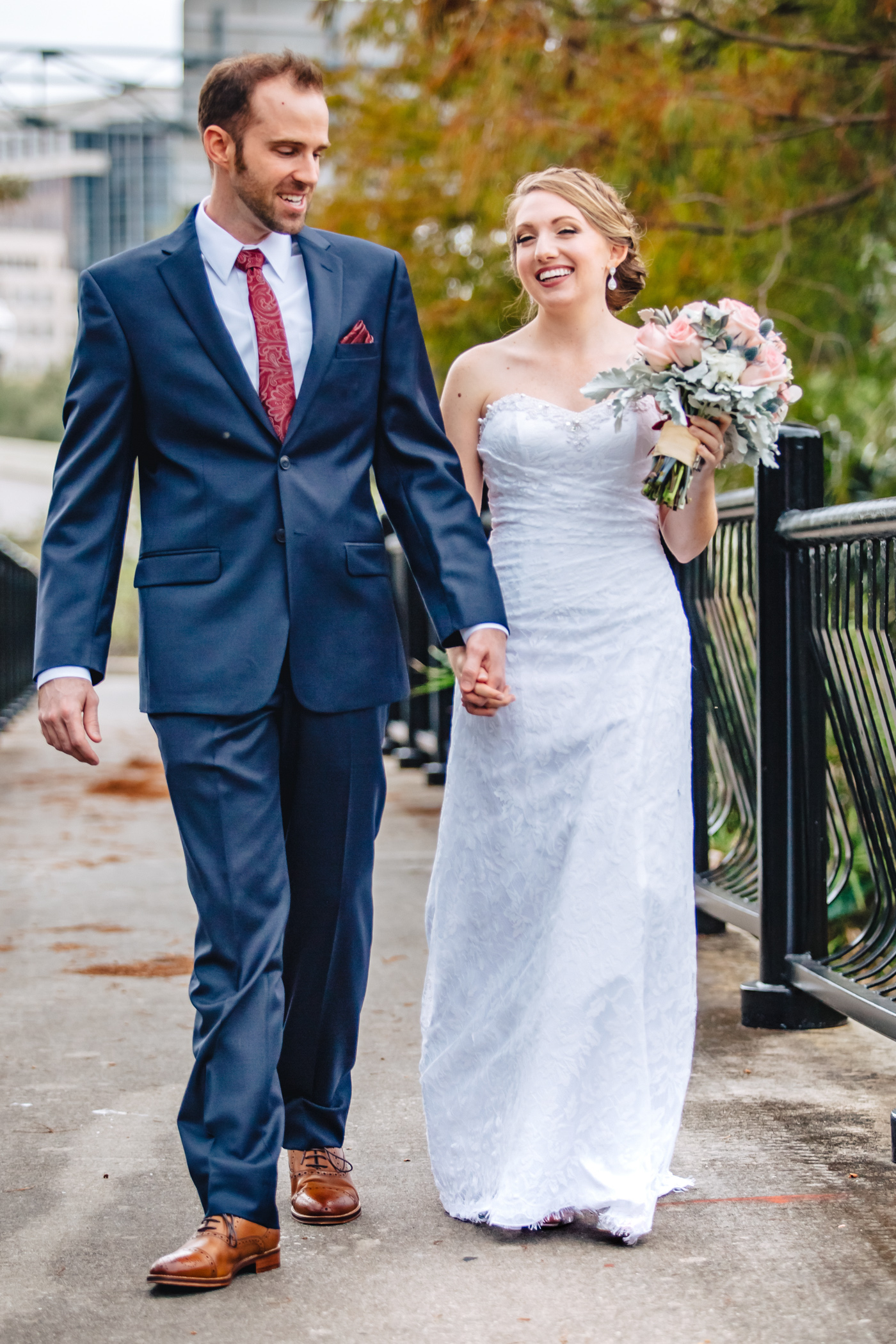 Downtown Orlando Wedding at Lake Lucerne Christmas Theme Red Dress Navy Suits 077.jpg