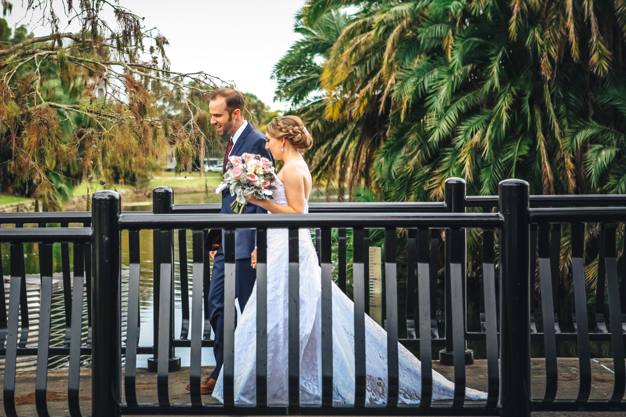 Downtown Orlando Wedding at Lake Lucerne Christmas Theme Red Dress Navy Suits 078.jpg