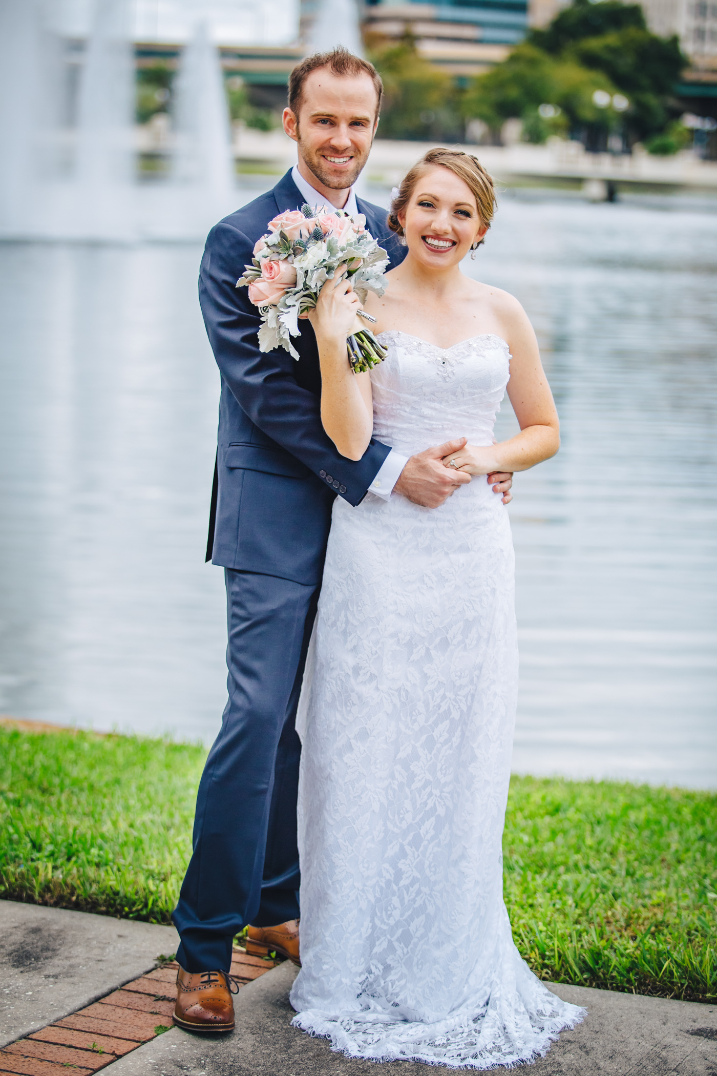 Downtown Orlando Wedding at Lake Lucerne Christmas Theme Red Dress Navy Suits 082.jpg