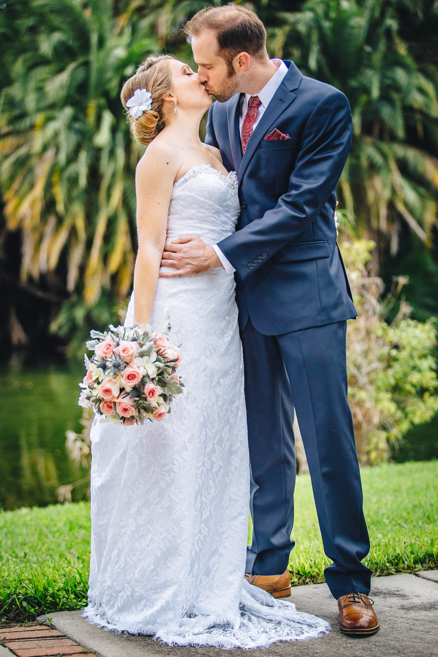Downtown Orlando Wedding at Lake Lucerne Christmas Theme Red Dress Navy Suits 081.jpg