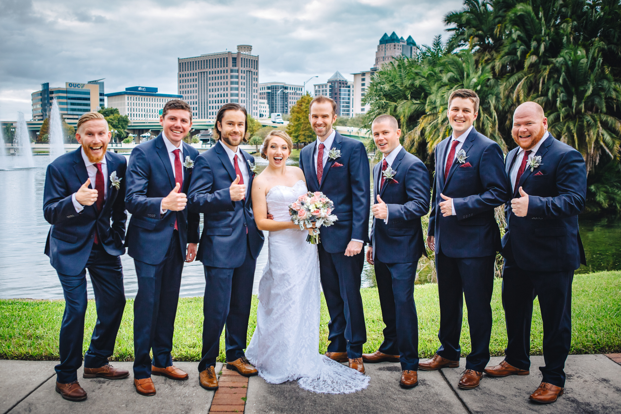 Downtown Orlando Wedding at Lake Lucerne Christmas Theme Red Dress Navy Suits 086.jpg