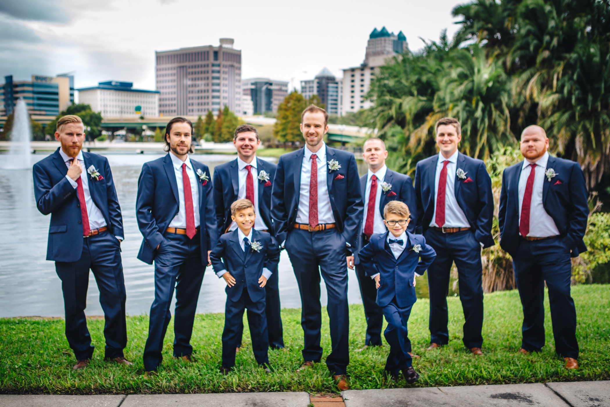 Downtown Orlando Wedding at Lake Lucerne Christmas Theme Red Dress Navy Suits 087.jpg