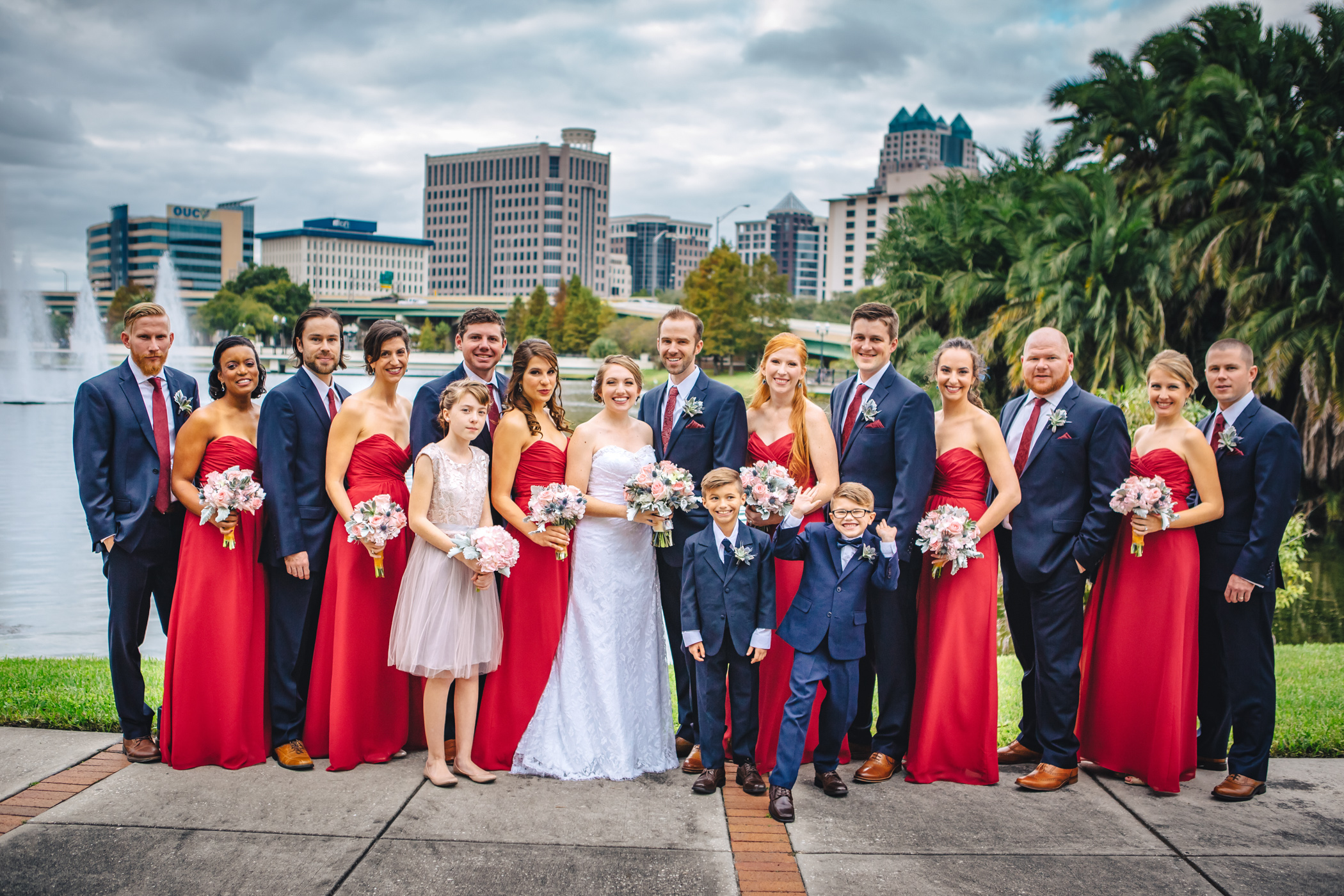 Downtown Orlando Wedding at Lake Lucerne Christmas Theme Red Dress Navy Suits 089.jpg