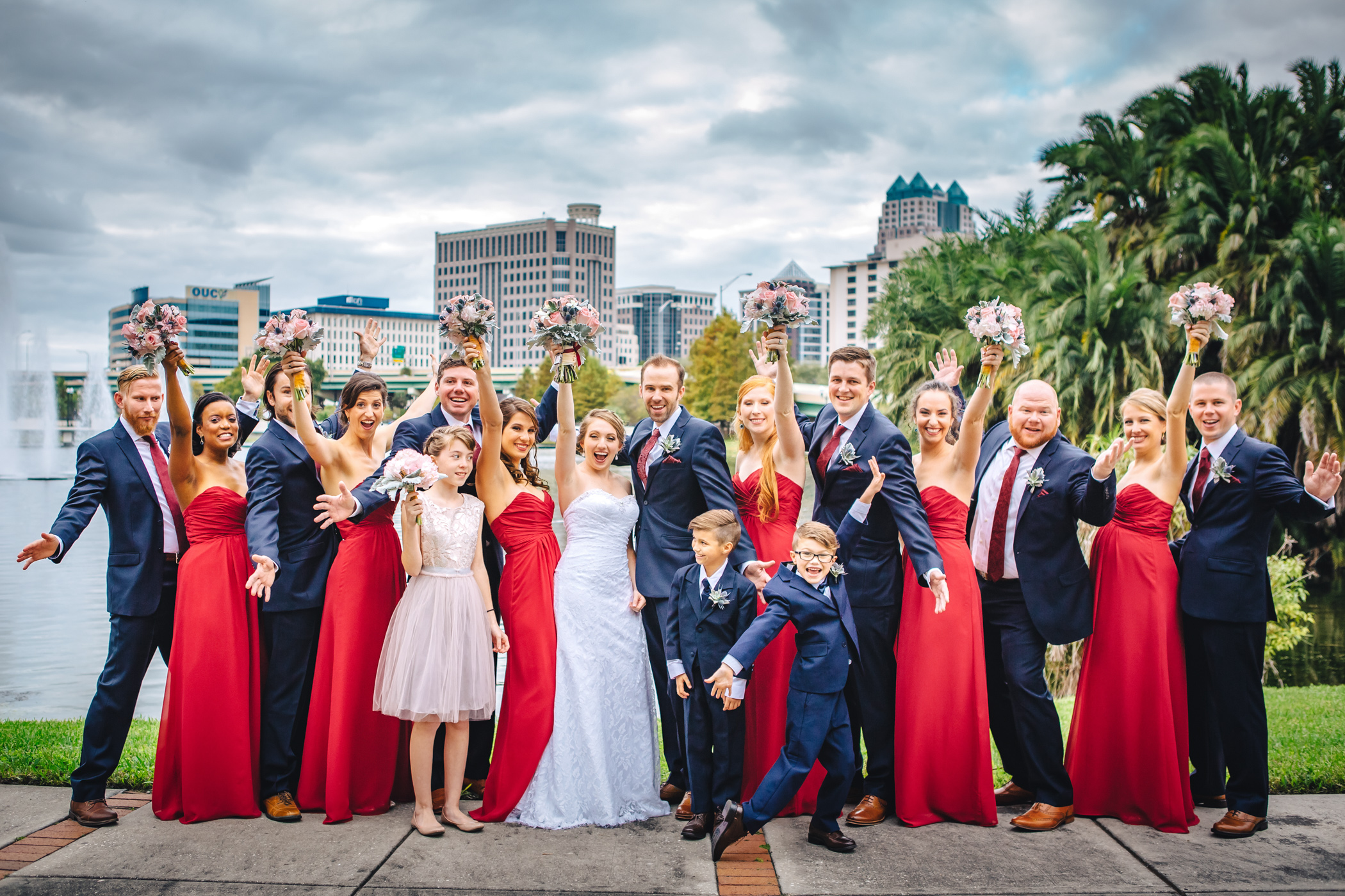 Downtown Orlando Wedding at Lake Lucerne Christmas Theme Red Dress Navy Suits 090.jpg