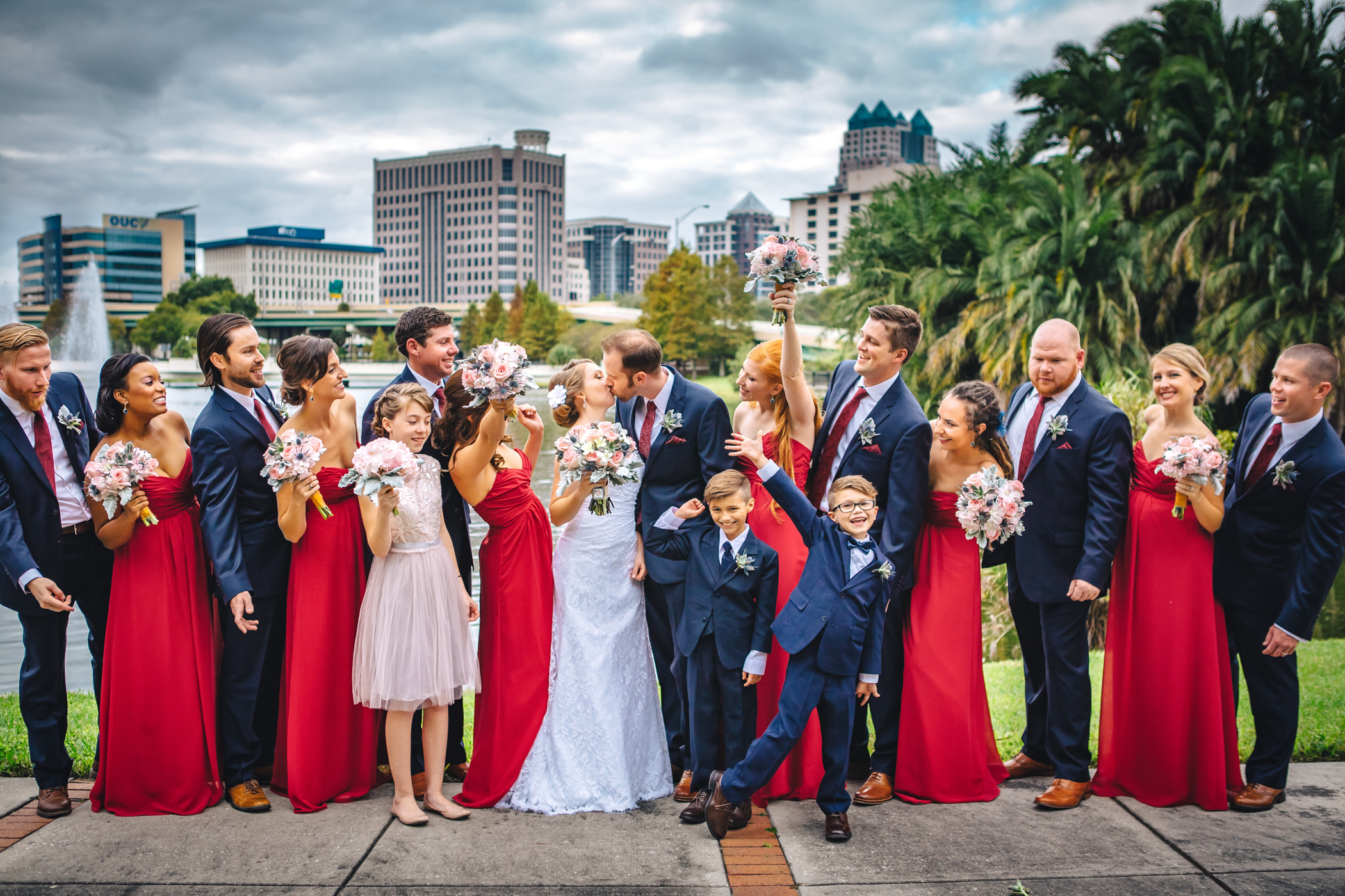 Downtown Orlando Wedding at Lake Lucerne Christmas Theme Red Dress Navy Suits 091.jpg