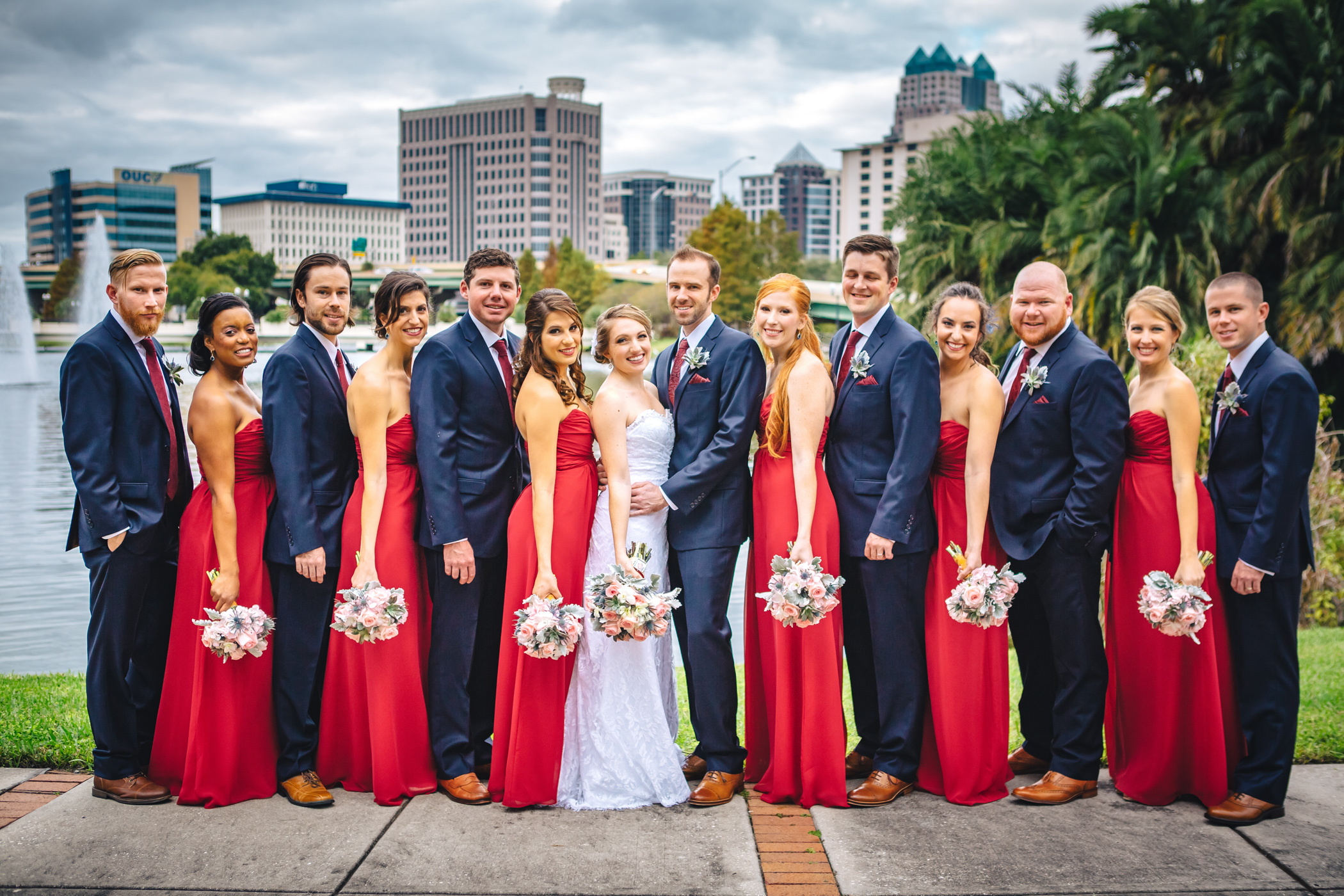 Downtown Orlando Wedding at Lake Lucerne Christmas Theme Red Dress Navy Suits 092.jpg