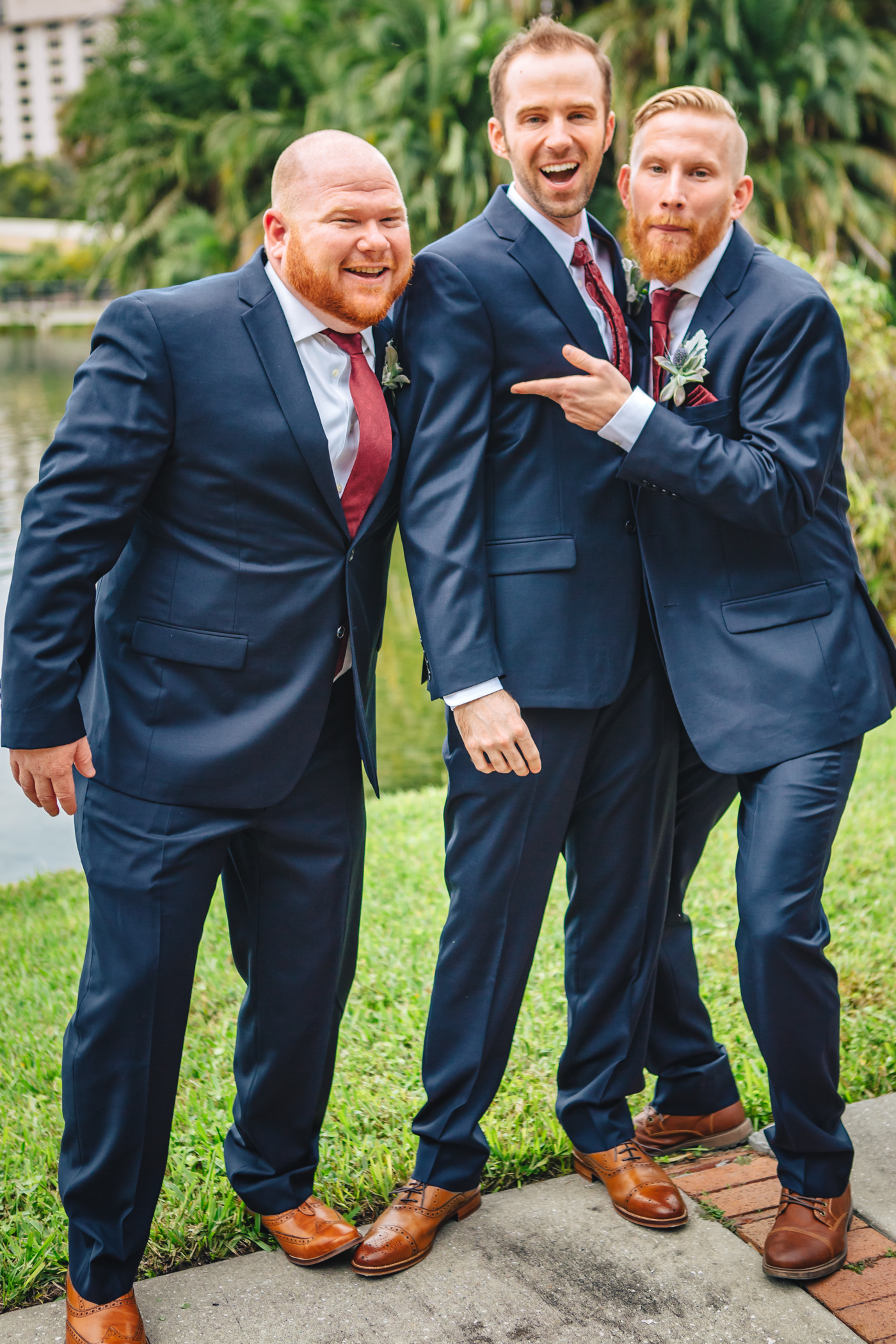 Downtown Orlando Wedding at Lake Lucerne Christmas Theme Red Dress Navy Suits 094.jpg