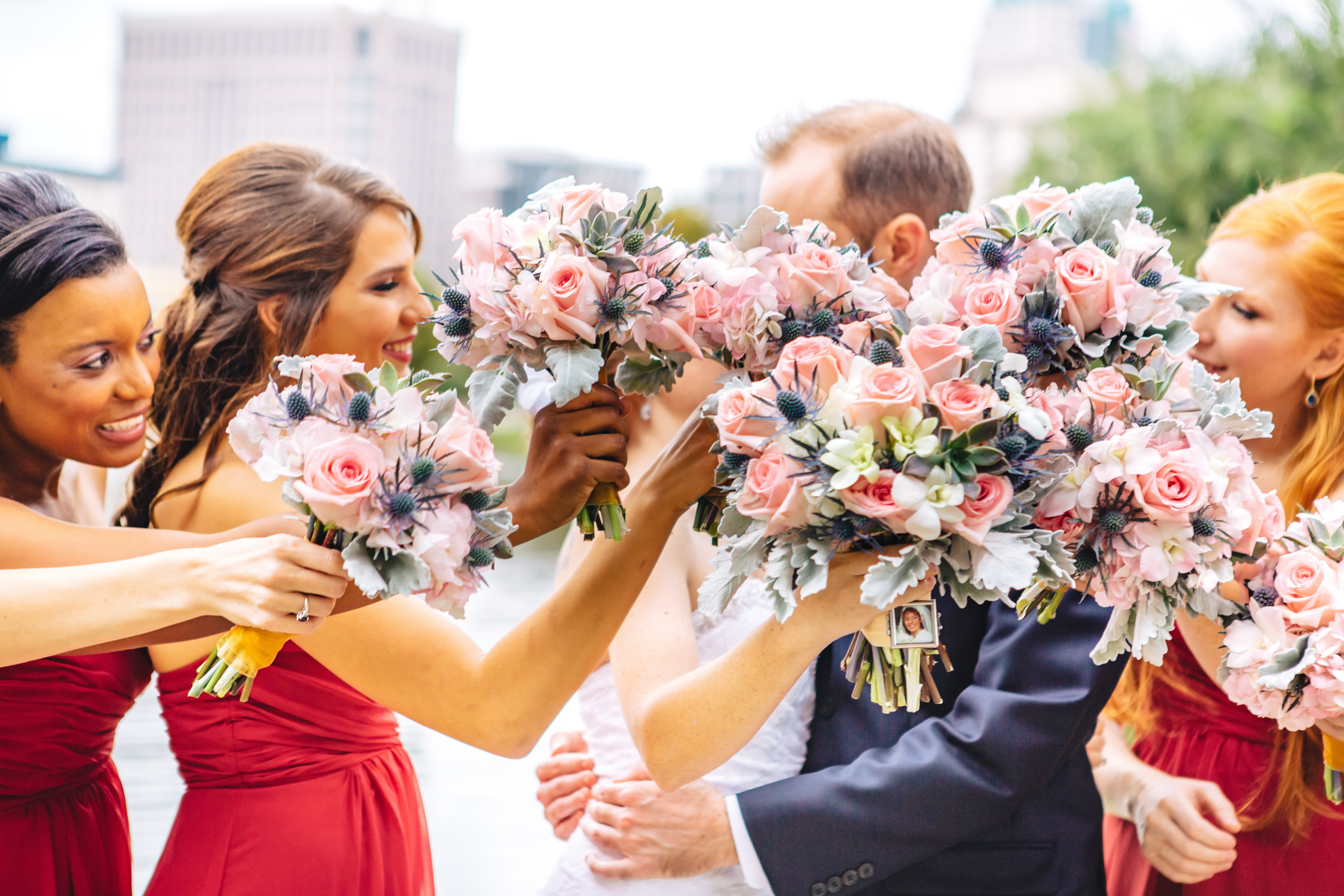 Downtown Orlando Wedding at Lake Lucerne Christmas Theme Red Dress Navy Suits 099.jpg