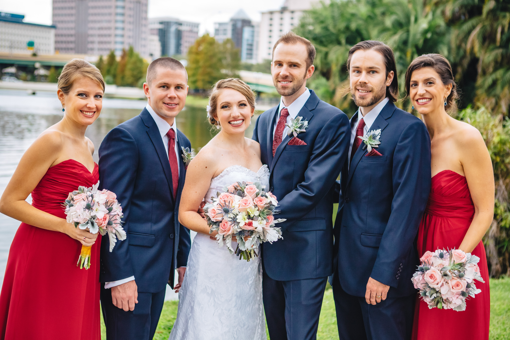 Downtown Orlando Wedding at Lake Lucerne Christmas Theme Red Dress Navy Suits 100.jpg