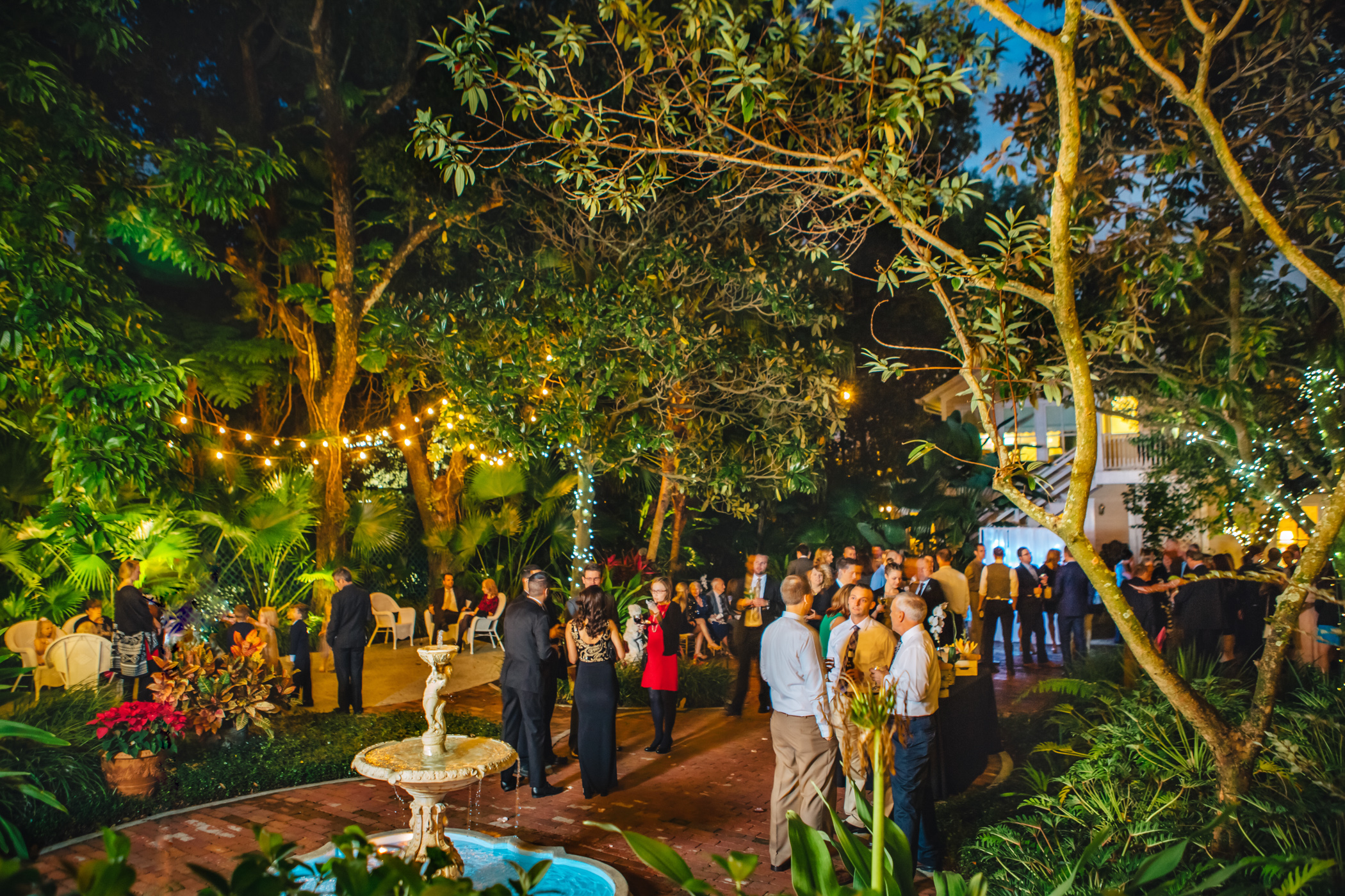 Downtown Orlando Wedding at Lake Lucerne Christmas Theme Red Dress Navy Suits 136.jpg