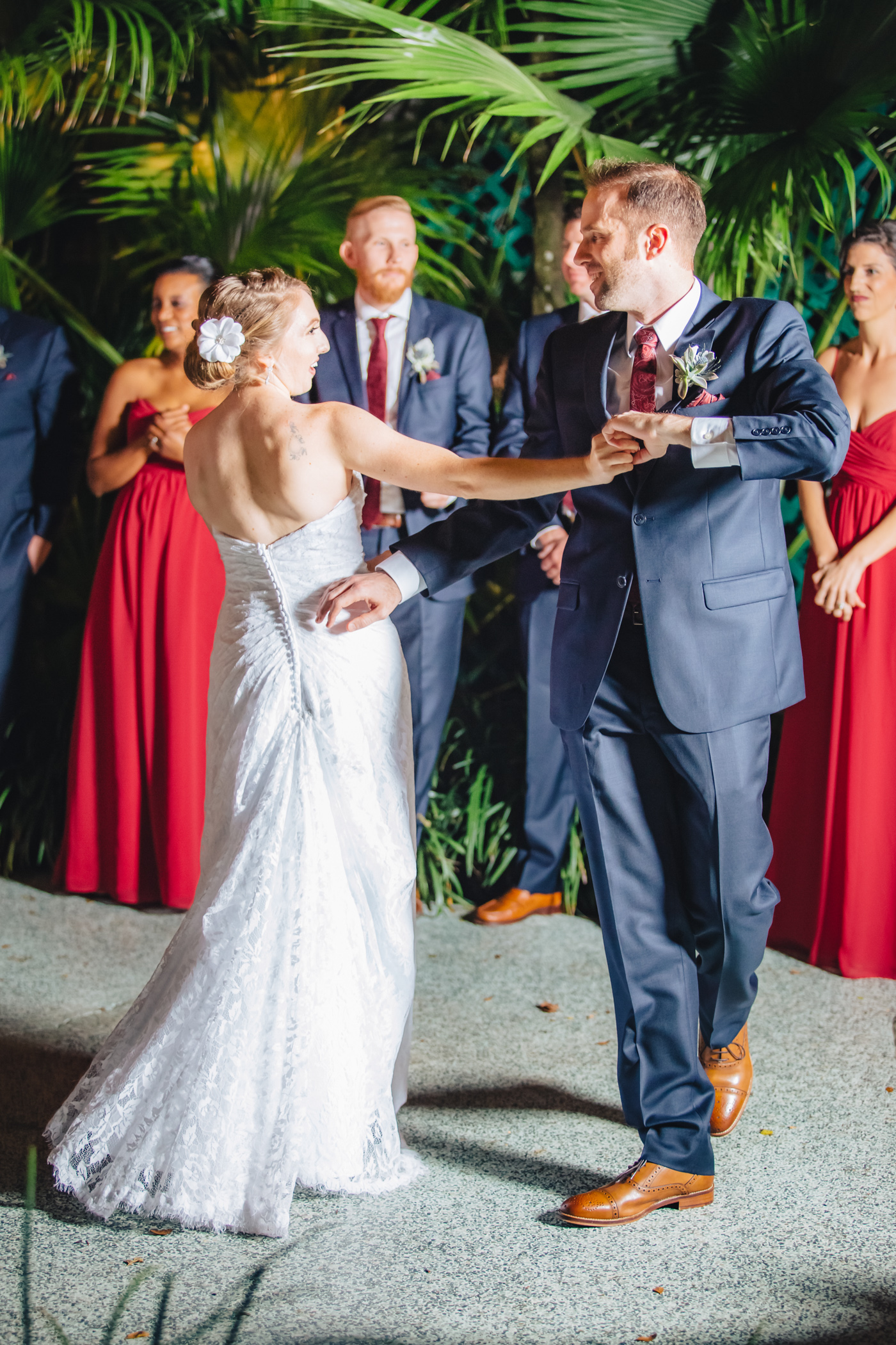 Downtown Orlando Wedding at Lake Lucerne Christmas Theme Red Dress Navy Suits 145.jpg