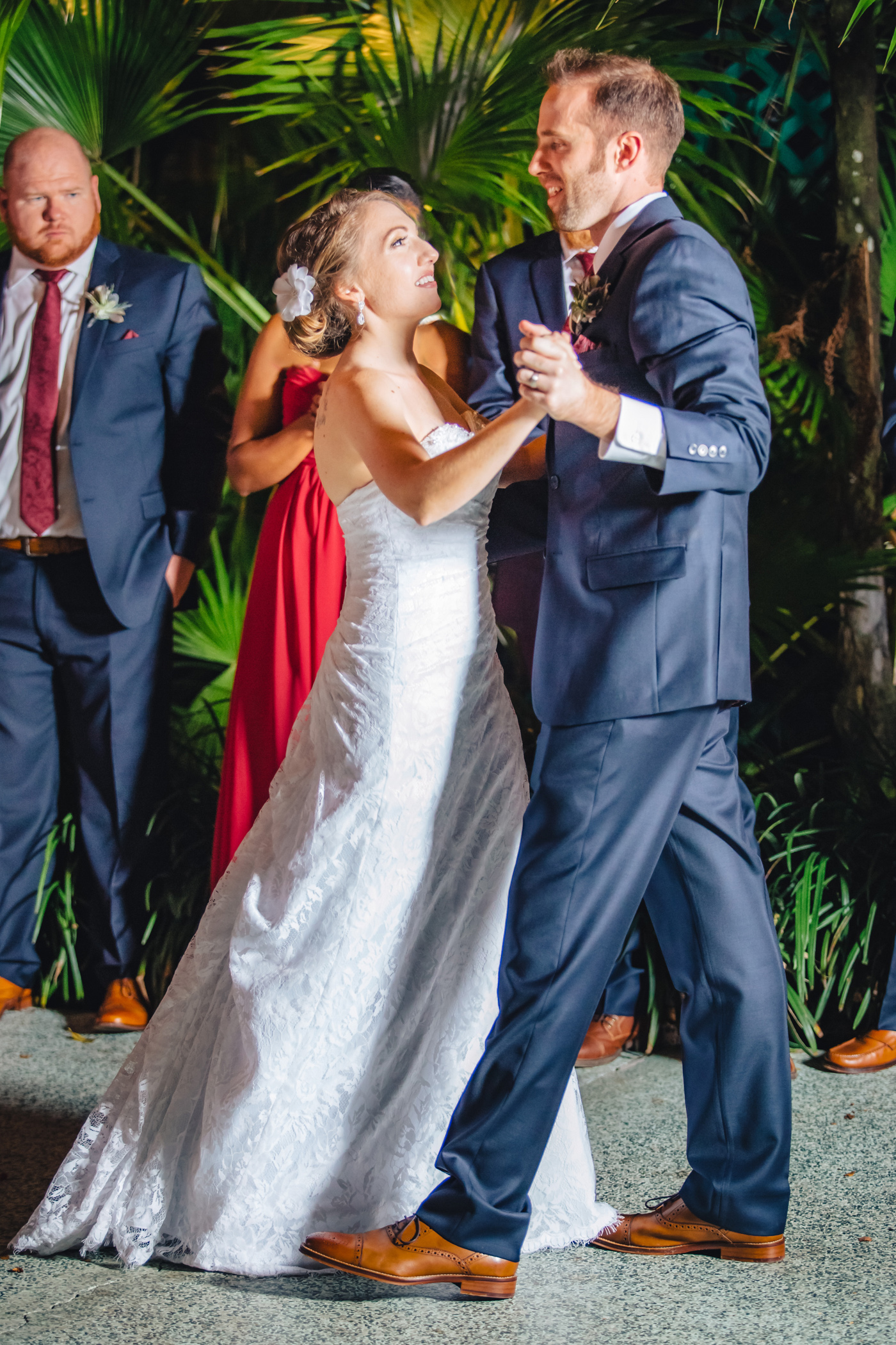 Downtown Orlando Wedding at Lake Lucerne Christmas Theme Red Dress Navy Suits 146.jpg