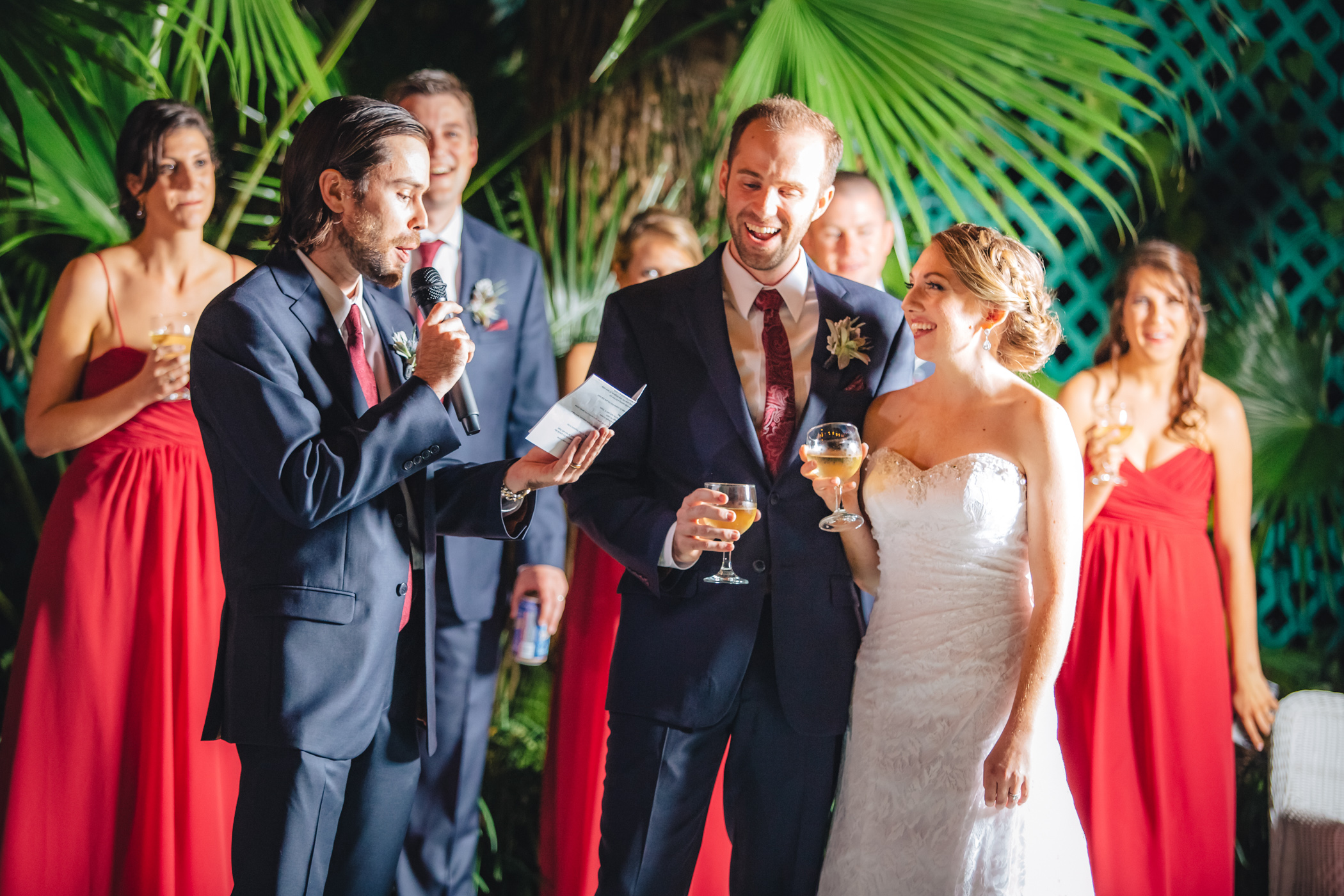 Downtown Orlando Wedding at Lake Lucerne Christmas Theme Red Dress Navy Suits 148.jpg