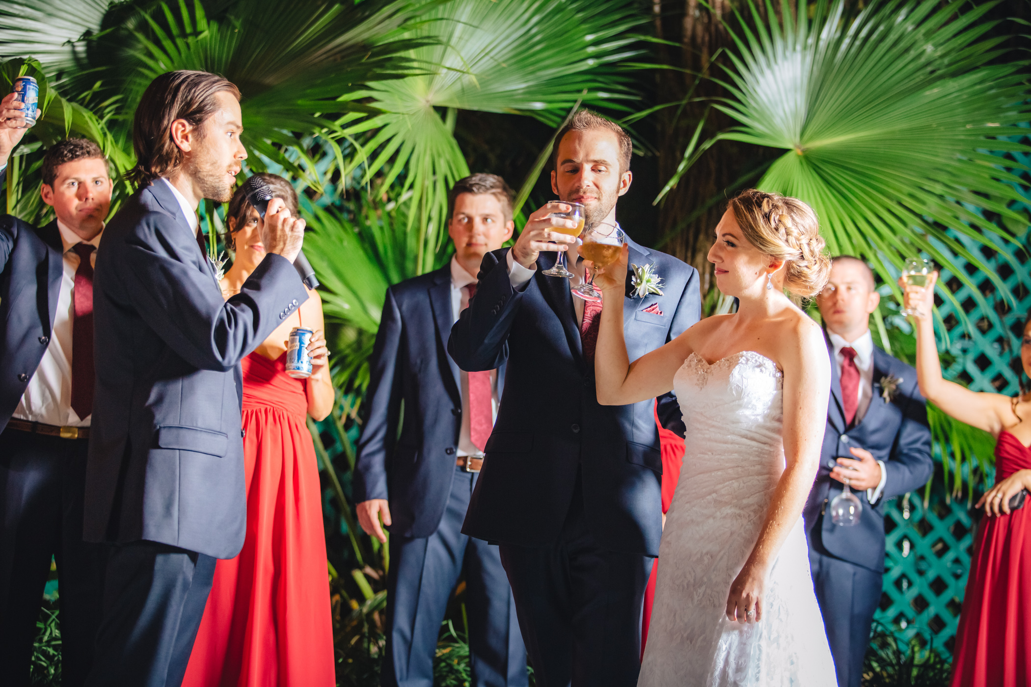 Downtown Orlando Wedding at Lake Lucerne Christmas Theme Red Dress Navy Suits 150.jpg