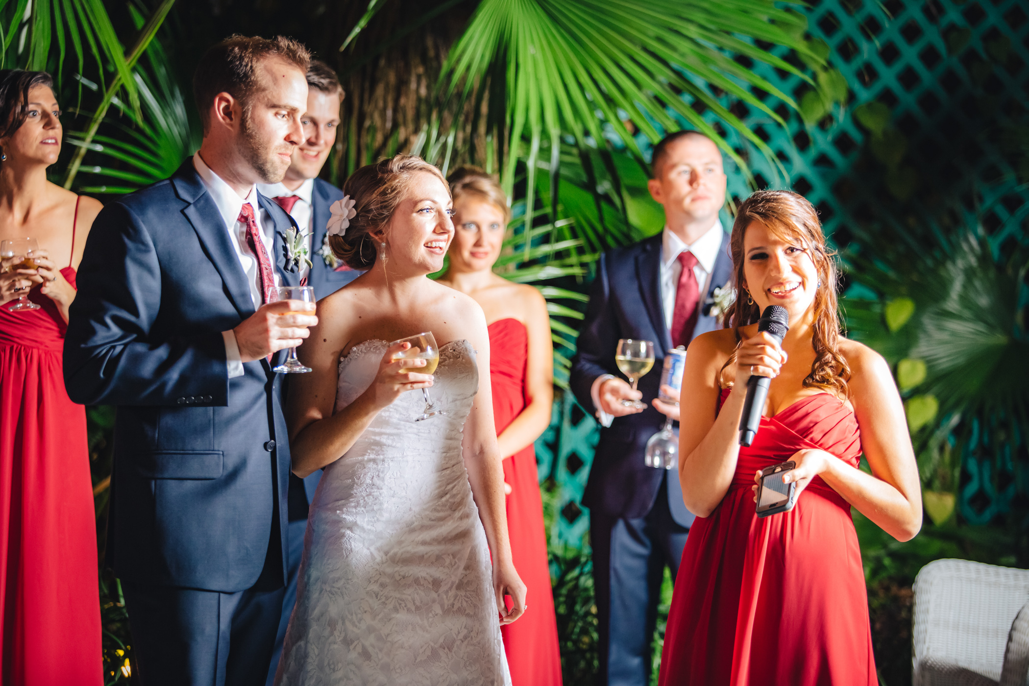 Downtown Orlando Wedding at Lake Lucerne Christmas Theme Red Dress Navy Suits 151.jpg