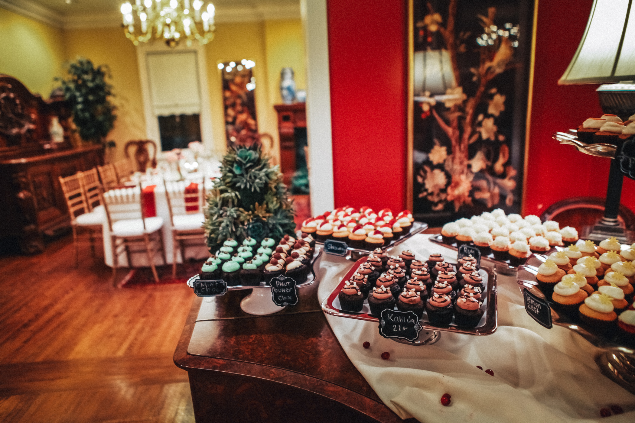Downtown Orlando Wedding at Lake Lucerne Christmas Theme Red Dress Navy Suits 160.jpg