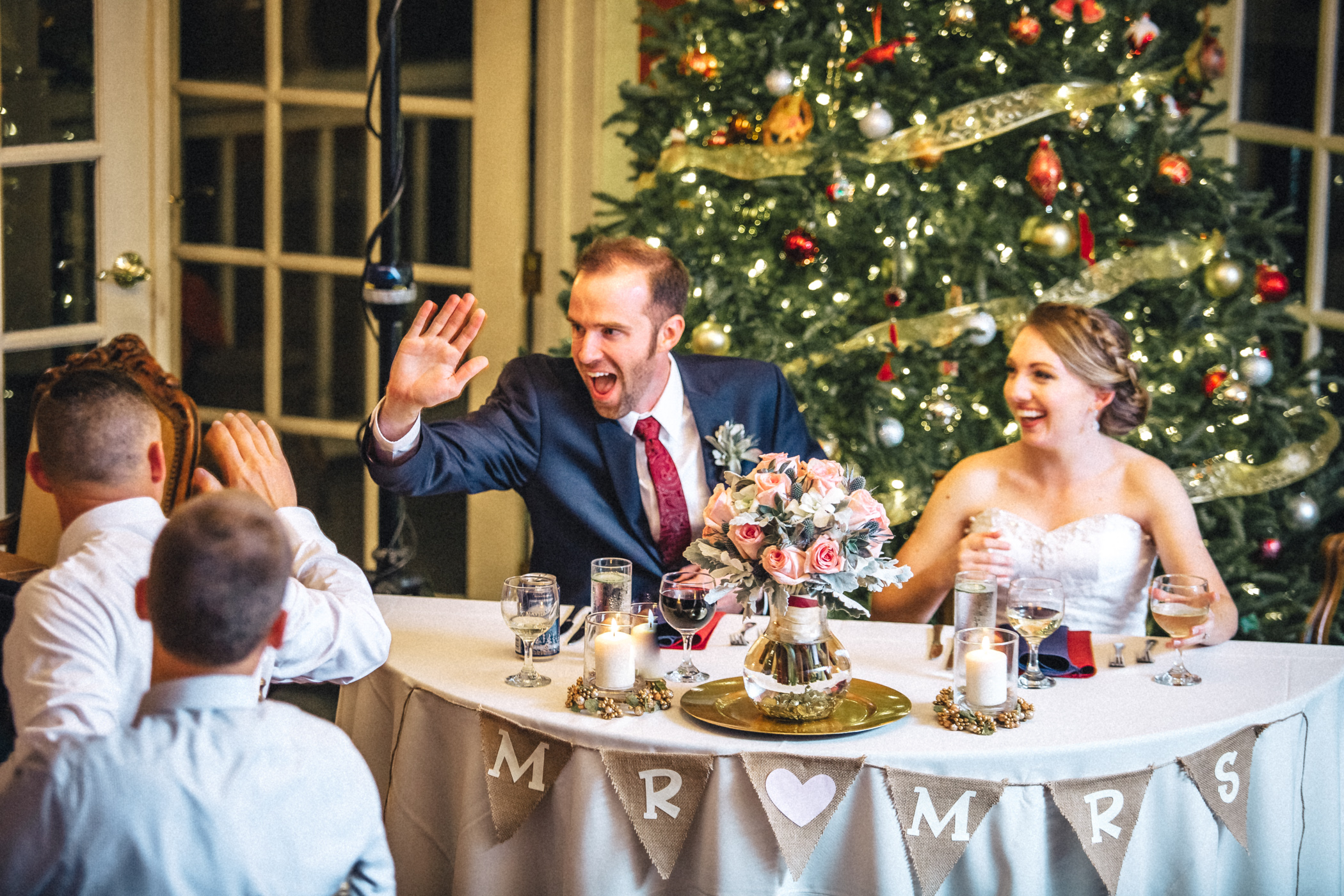 Downtown Orlando Wedding at Lake Lucerne Christmas Theme Red Dress Navy Suits 172.jpg