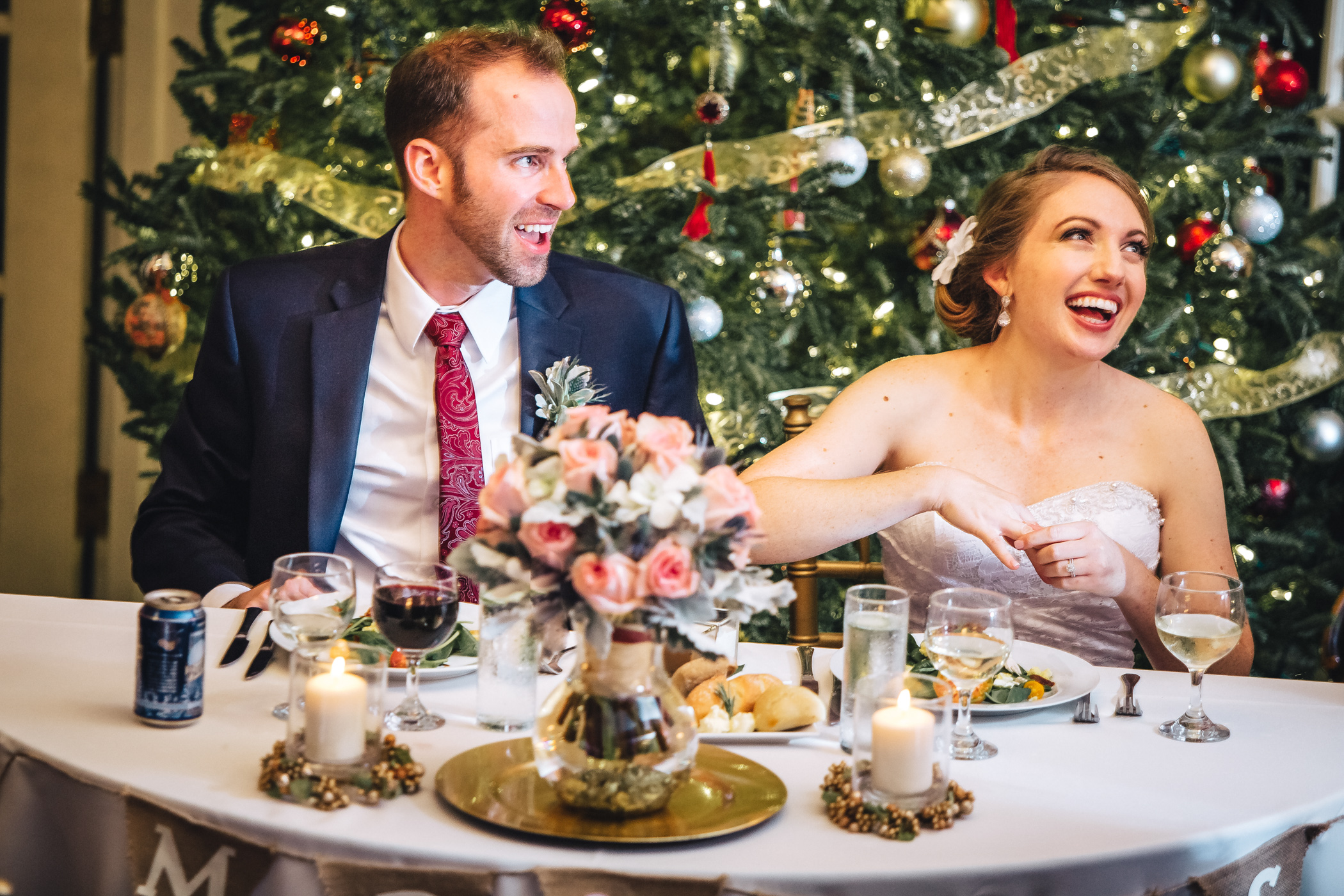 Downtown Orlando Wedding at Lake Lucerne Christmas Theme Red Dress Navy Suits 173.jpg