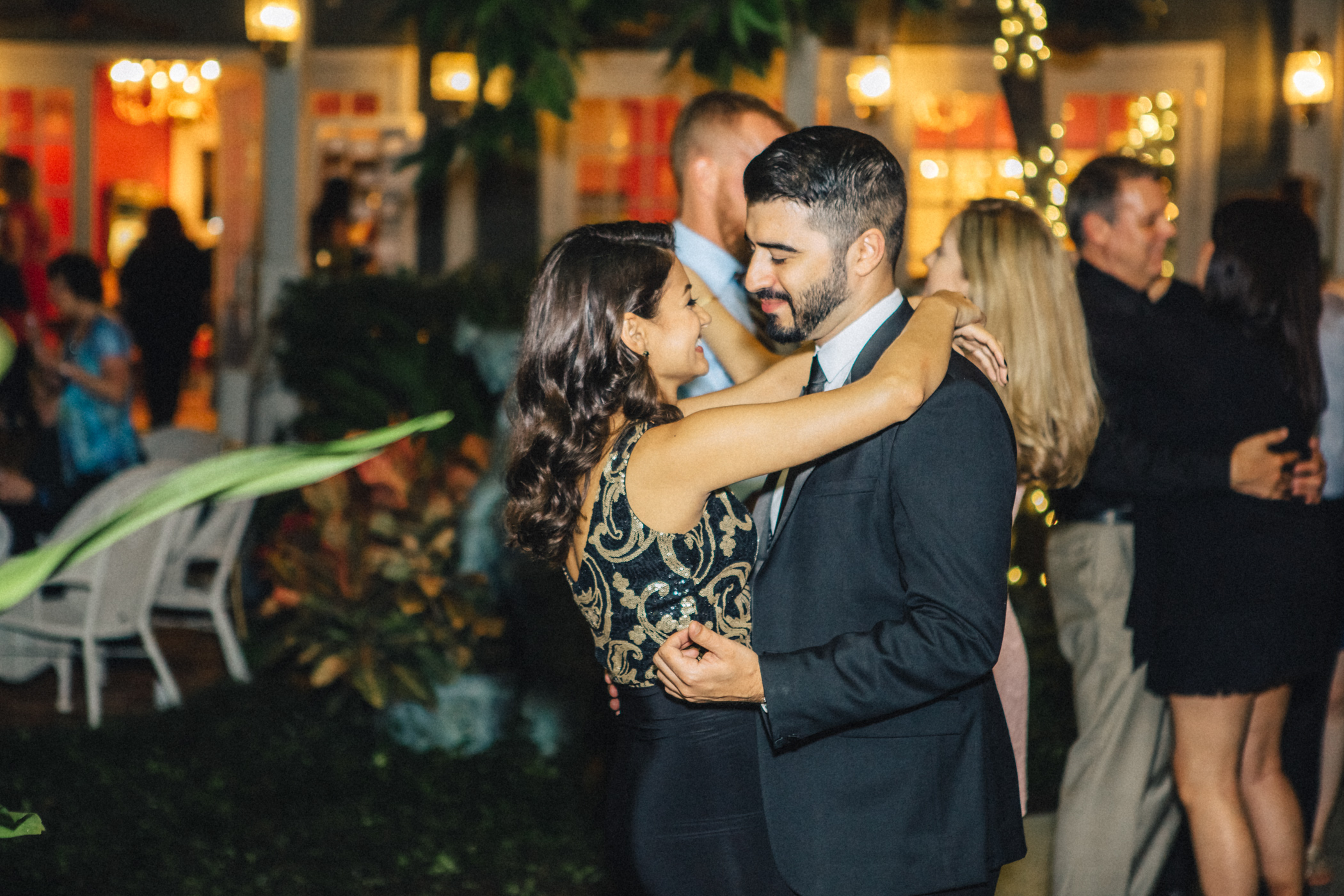 Downtown Orlando Wedding at Lake Lucerne Christmas Theme Red Dress Navy Suits 205.jpg