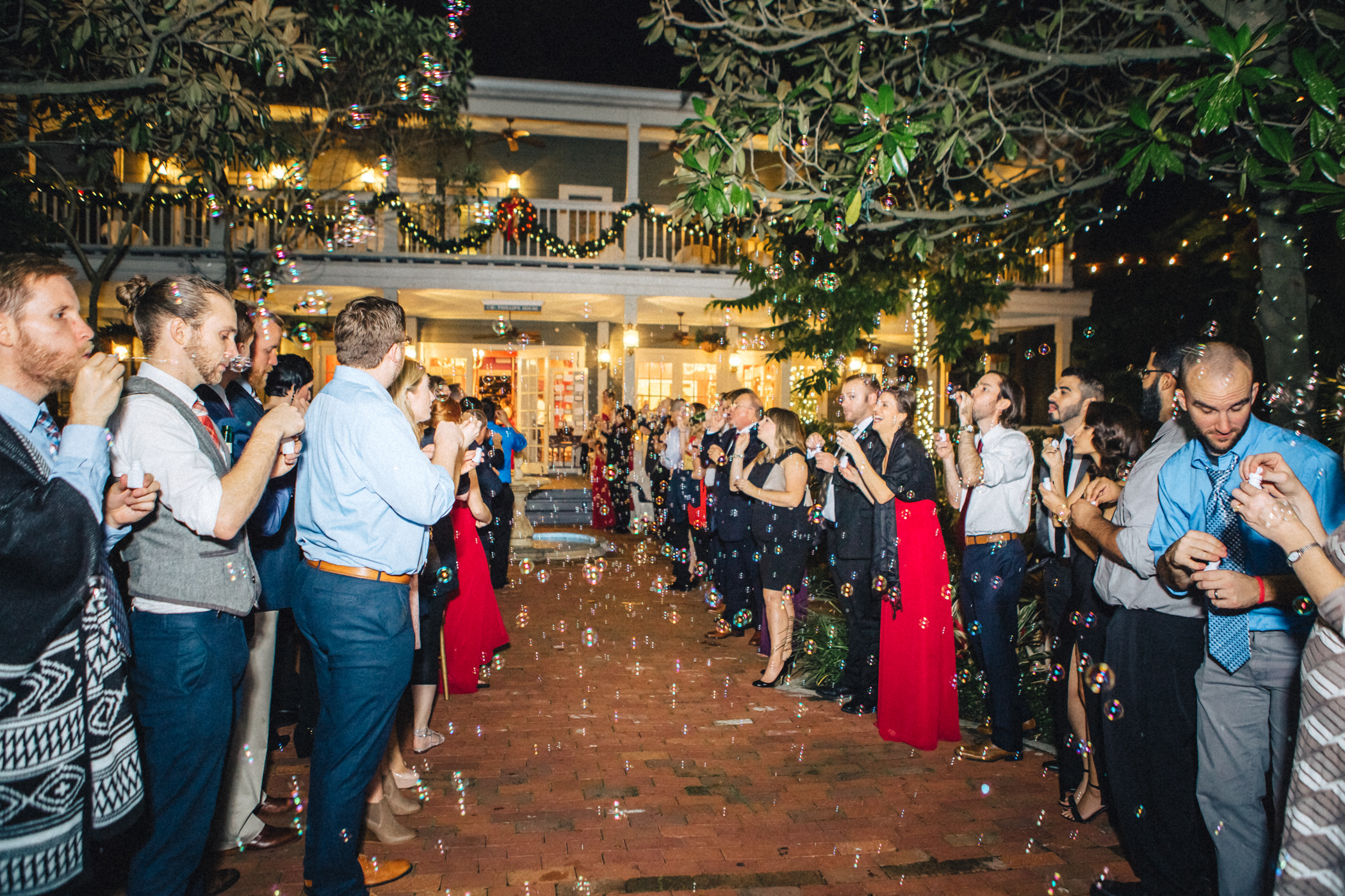 Downtown Orlando Wedding at Lake Lucerne Christmas Theme Red Dress Navy Suits 208.jpg
