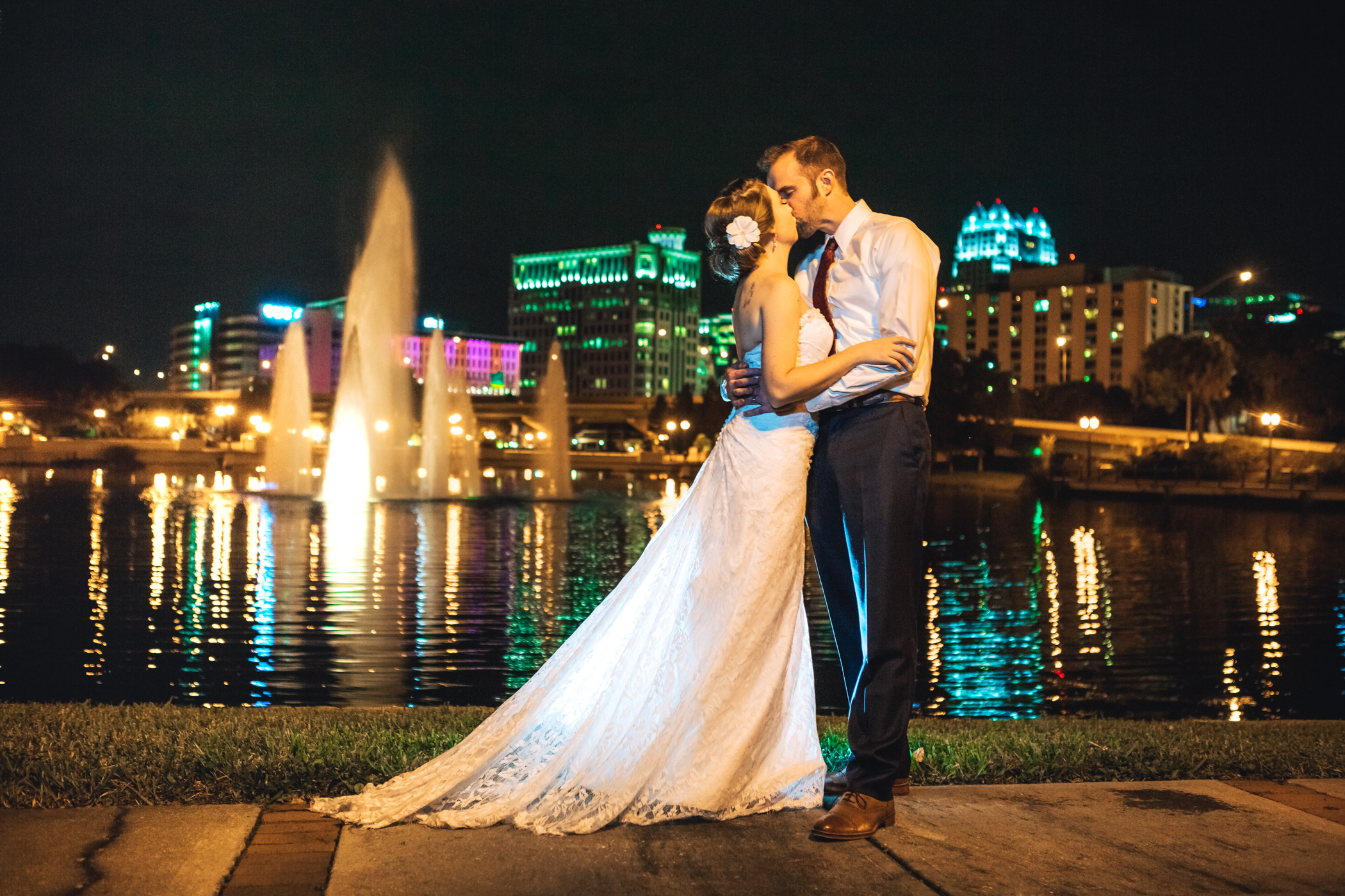 Downtown Orlando Wedding at Lake Lucerne Christmas Theme Red Dress Navy Suits 211.jpg