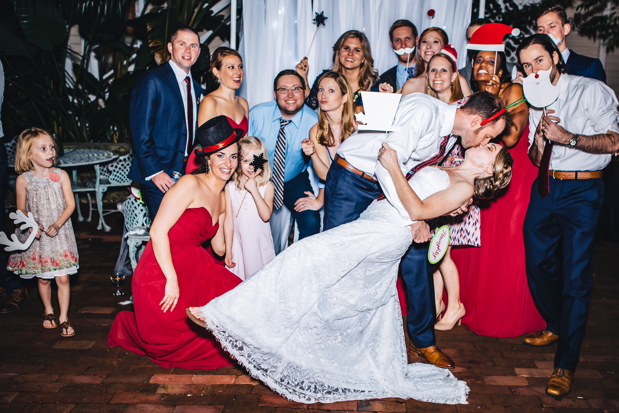 Downtown Orlando Wedding at Lake Lucerne Christmas Theme Red Dress Navy Suits 219.jpg