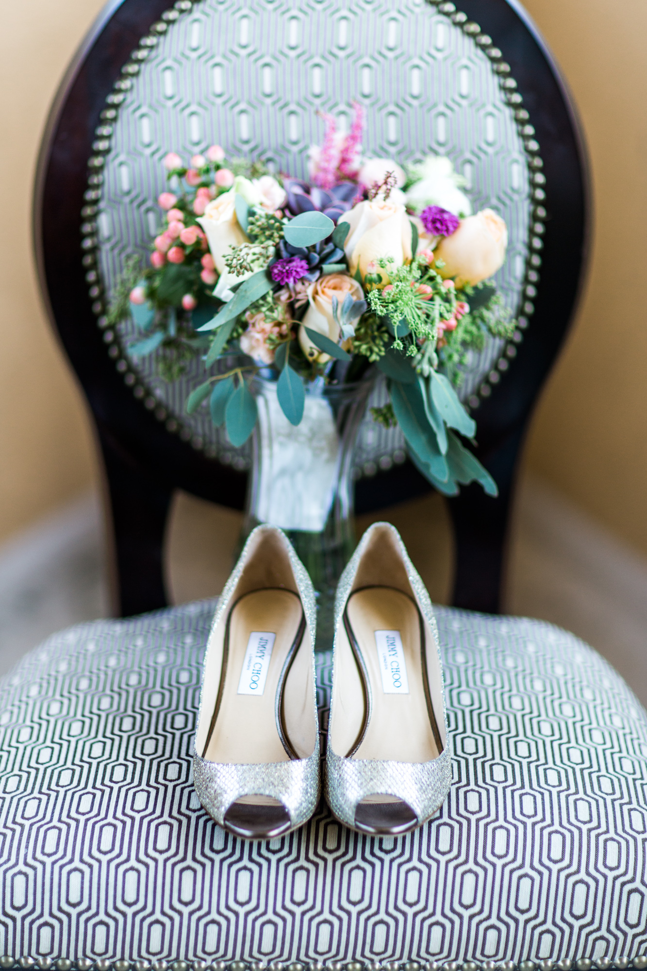 Winter Park Farmer's Market Wedding- Michael & Megan Fine Art Wedding Purple echeveria eucalyptus rose florals1.jpg