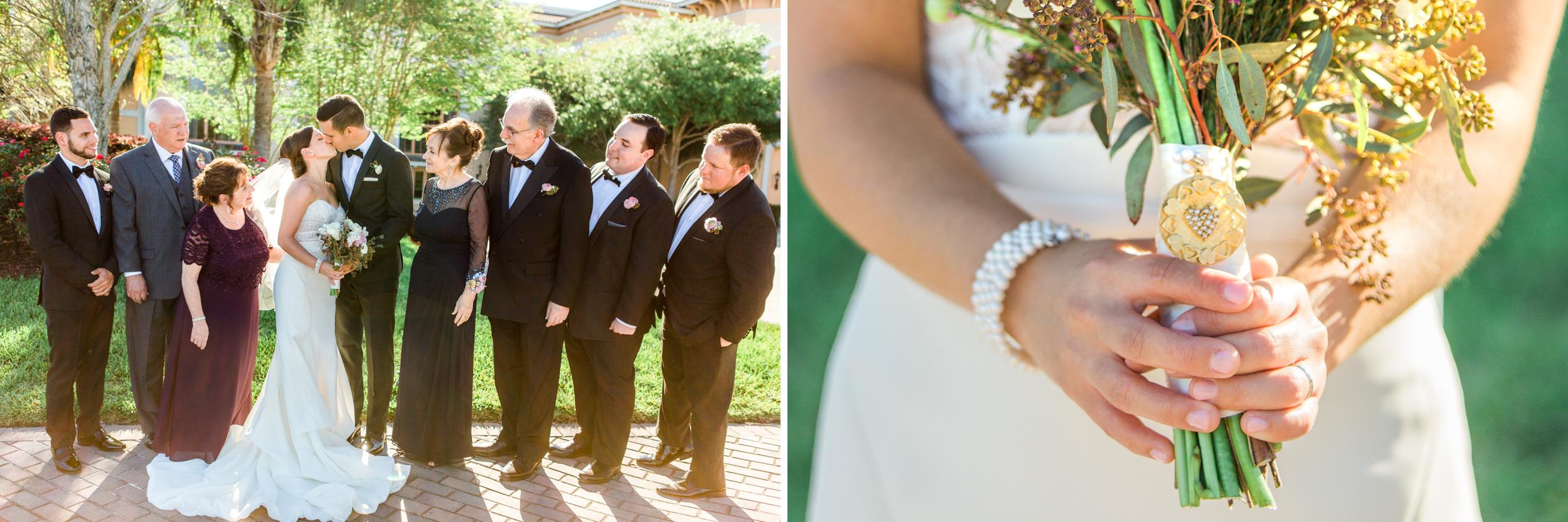 Allie & David Shingle Creek wedding - Family group photo heirloom bouquet charm wedding gown diptych mastin.jpg