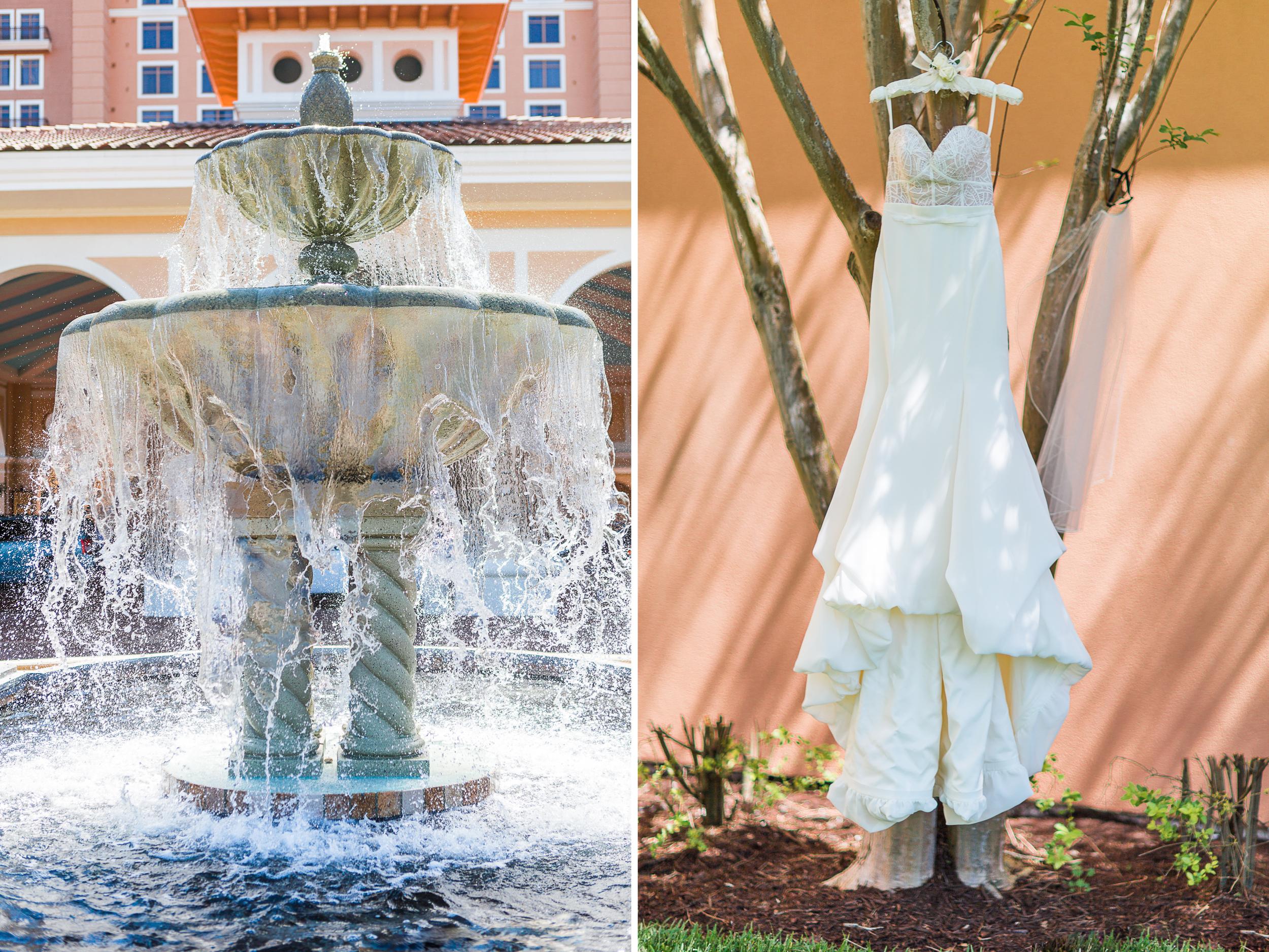 Allie & David Shingle Creek wedding - fountain and mermaid wedding gown diptych mastin.jpg