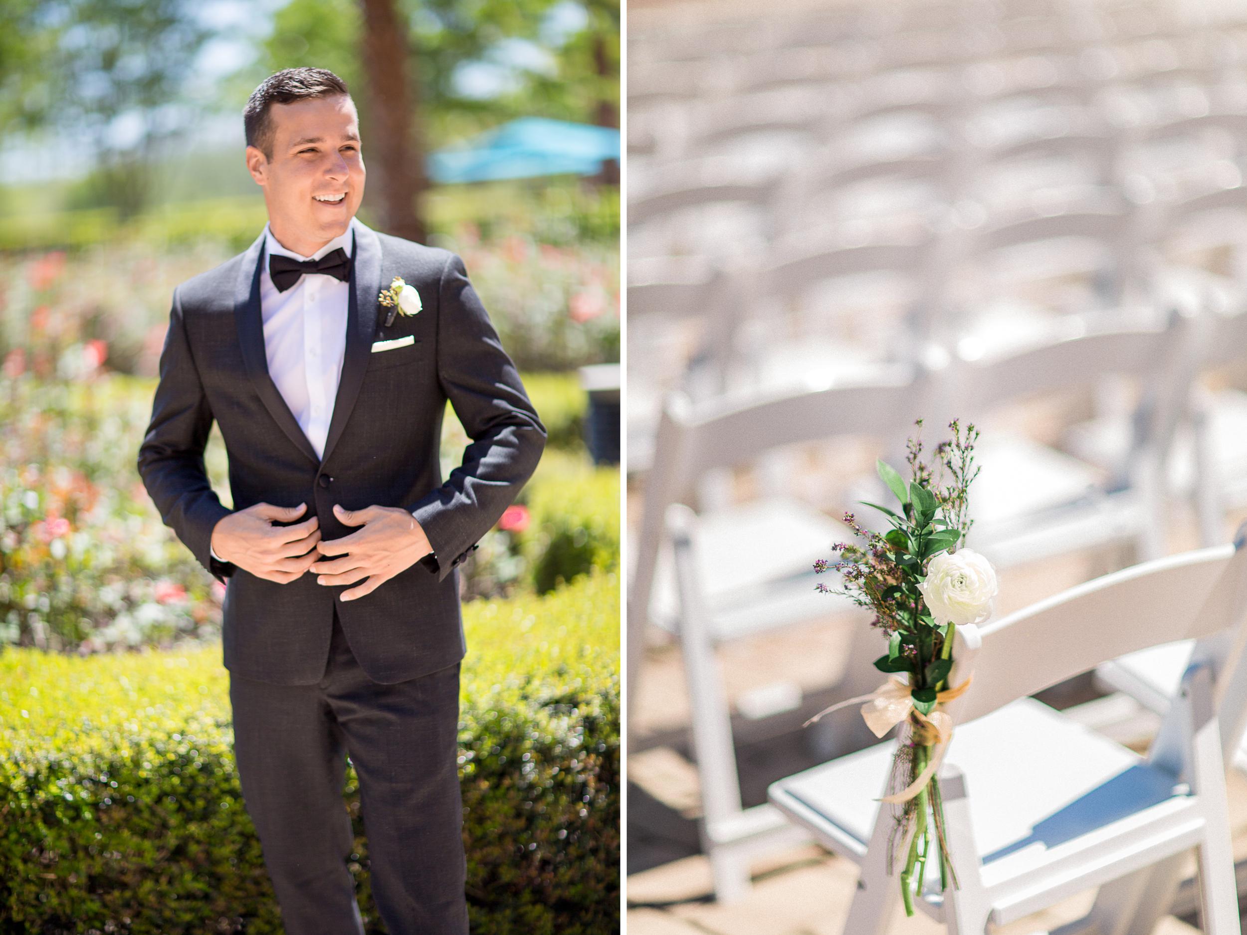 Black tie tuxedo macys groom with In Bloom Bouttonniere wax flowers white rose Shingle Creek Rosen Wedding.jpg