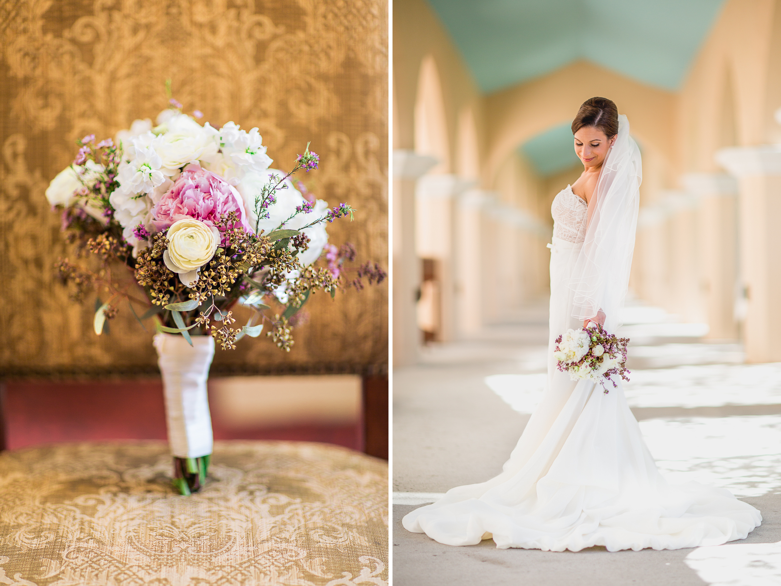 Elegant Bride at the rosen shingle creek In bloom bouquet of white roses and pink wax flowers in mermaid gown and veil.jpg