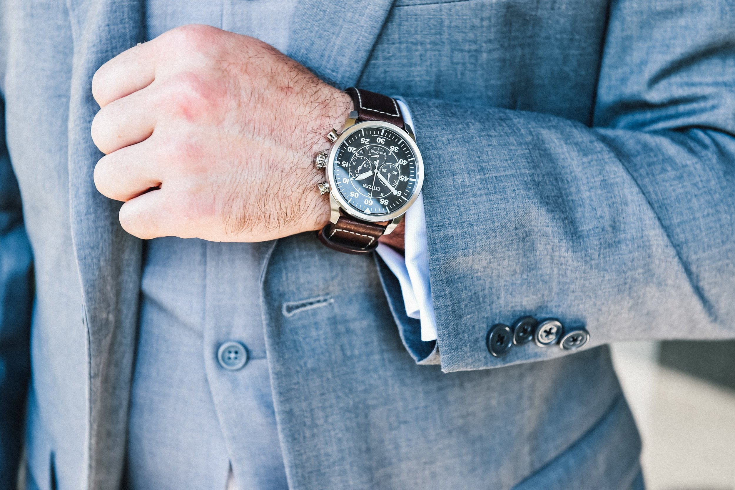 groom watch gray suit and waistcoat rustic chic wedding