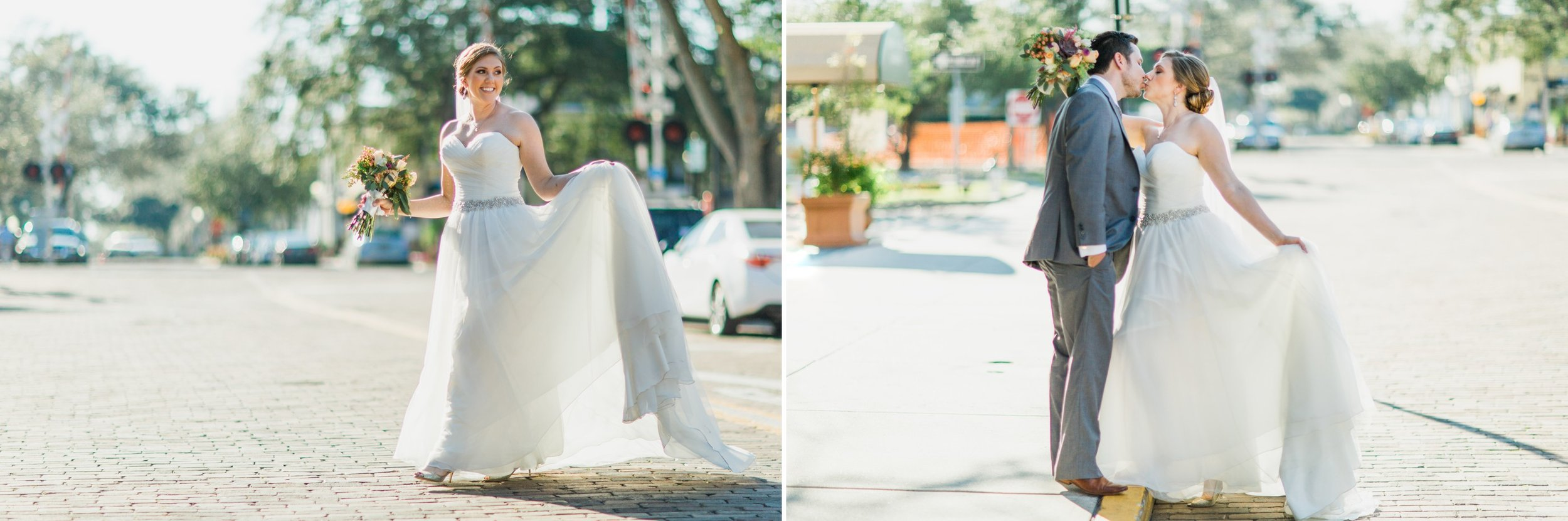 Rustic chic Bride + Groom photos in a princess gowns in Winter Park Farmers Market Wedding