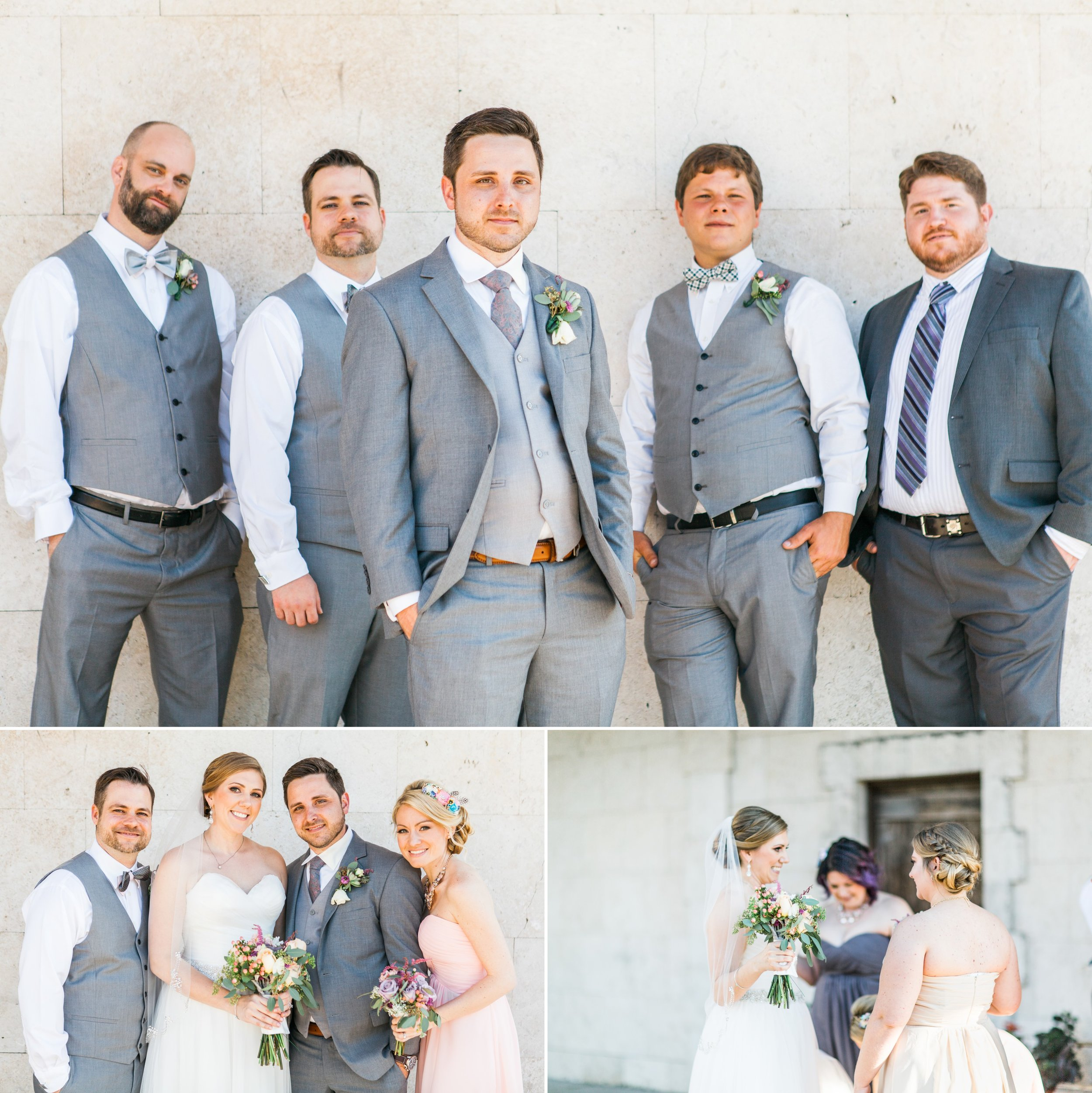 Bridal party group photos of groomsmen and bridesmaids in blush lavender gowns in Winter Park Farmers Market Wedding