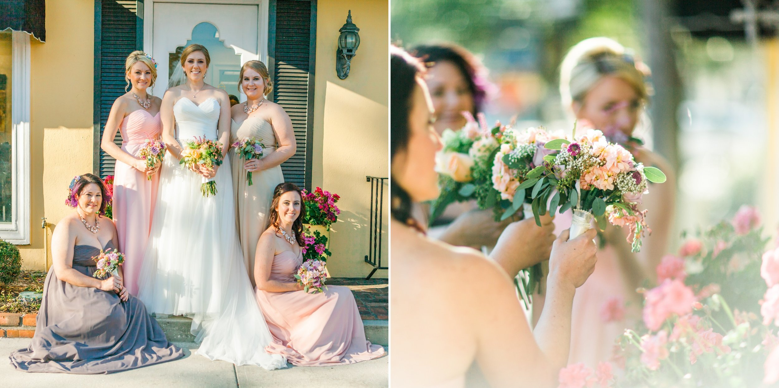 Bridesmaids photos in blush lavender gowns in Winter Park Farmers Market Wedding
