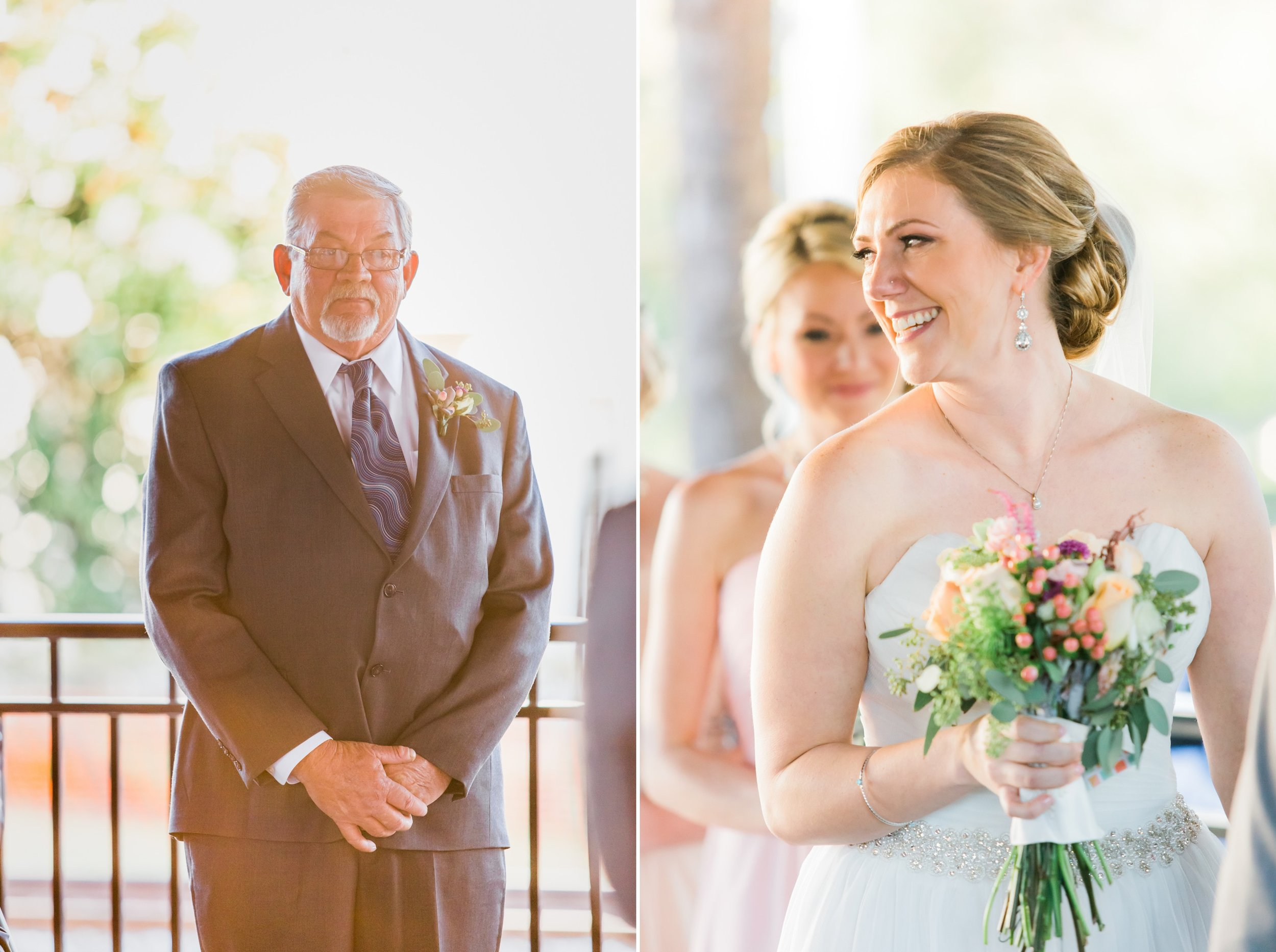 bride and dad at the aisle inspired wedding at the Winter Park Farmer's Market