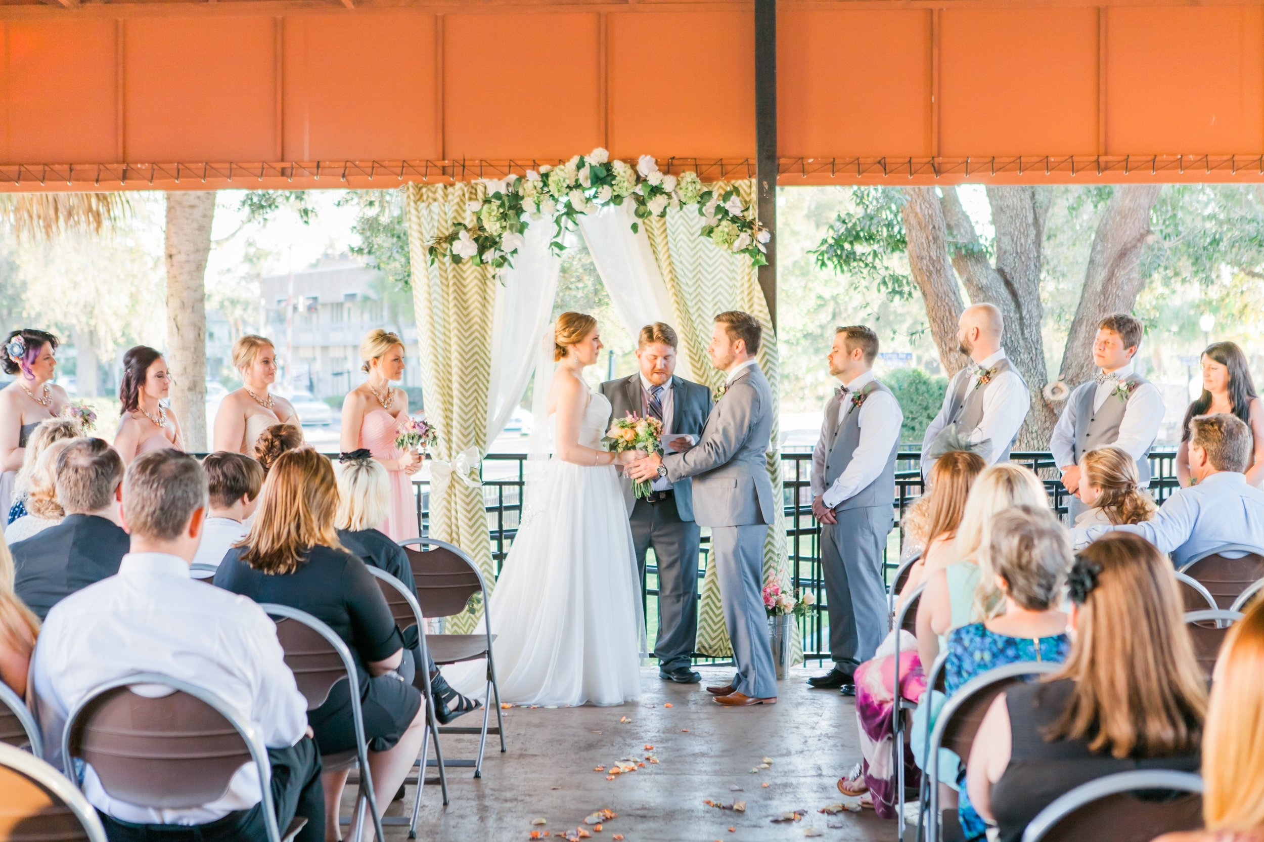 Rustic Chic wedding ceremony at the Winter Park Farmer's Market