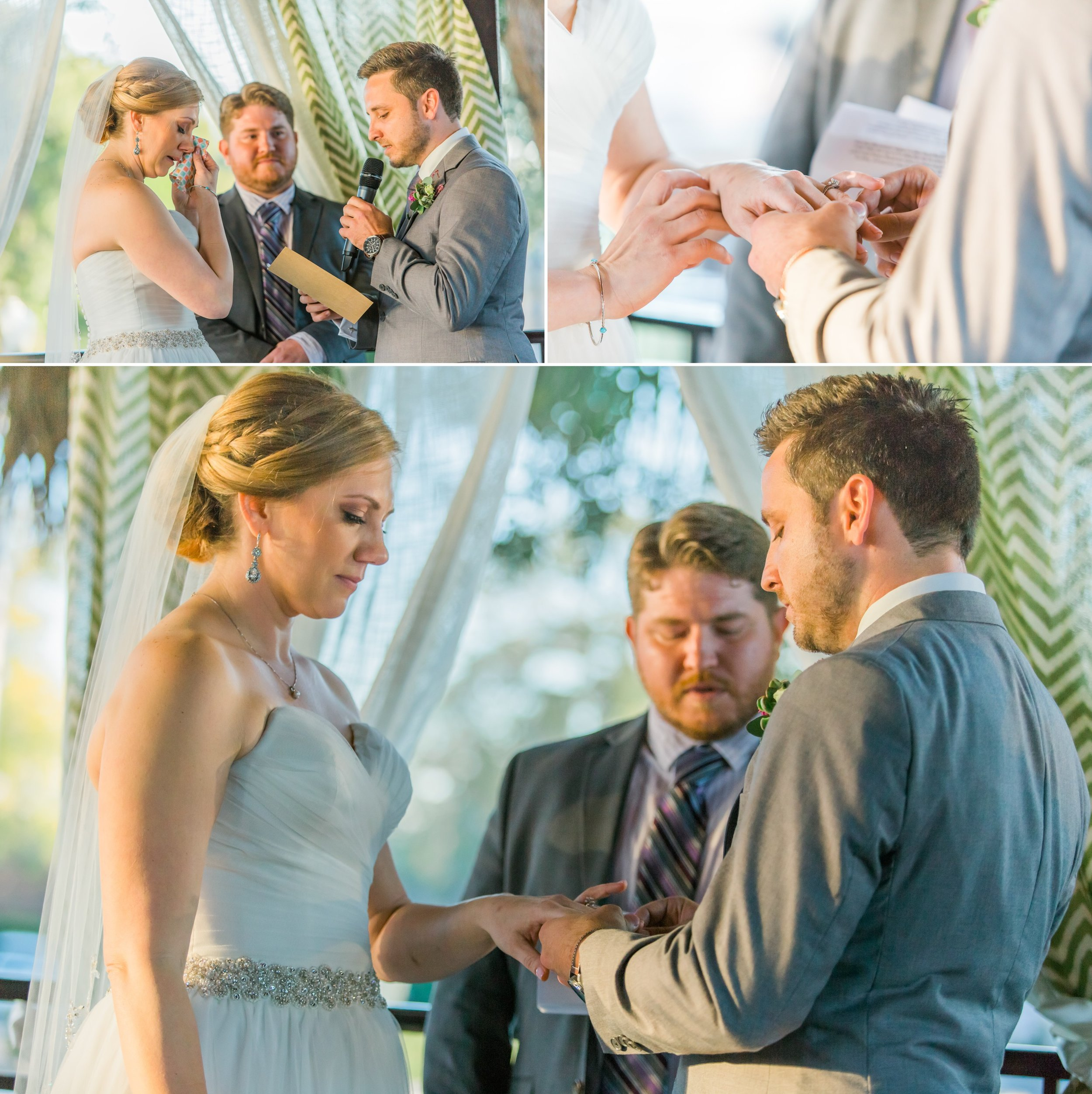 Rustic Chic wedding ceremony ring exchange at the Winter Park Farmer's Market