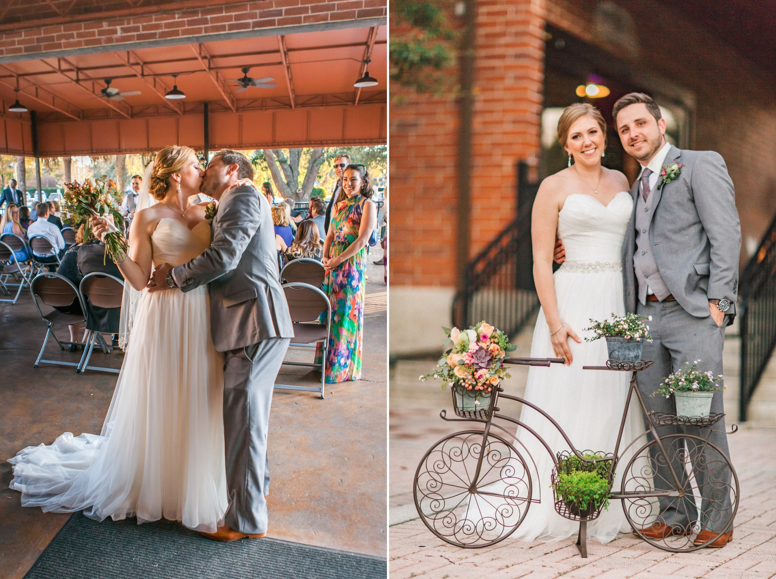 Rustic Chic wedding ceremony bicycle theme at the Winter Park Farmer's Market