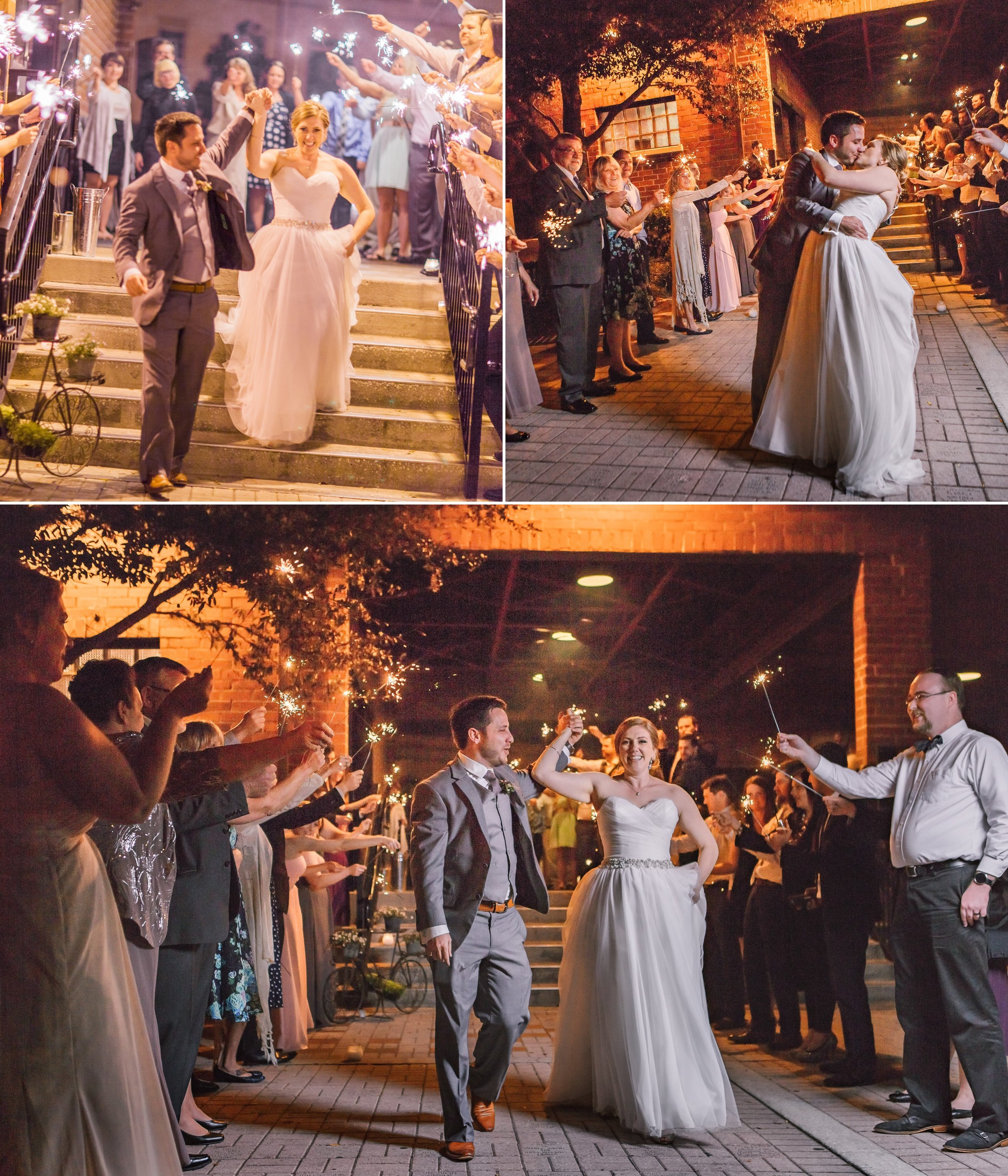 Winter Park Farmer's Market Sparkler grand exit send off at a Rustic Chic Gatsby themed Wedding Reception