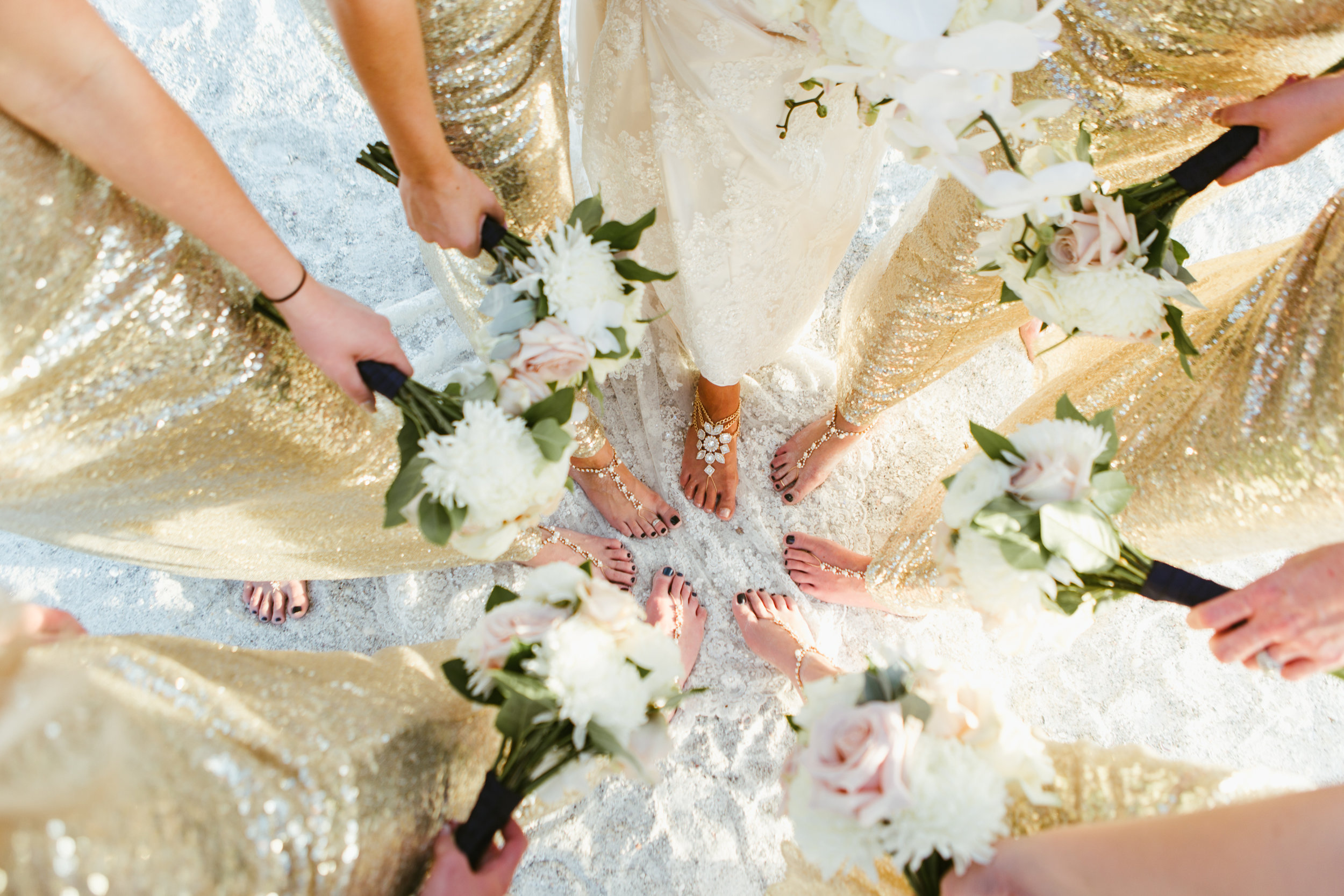 Longboat key beach wedding bridesmaids flowers gold sequin gowns