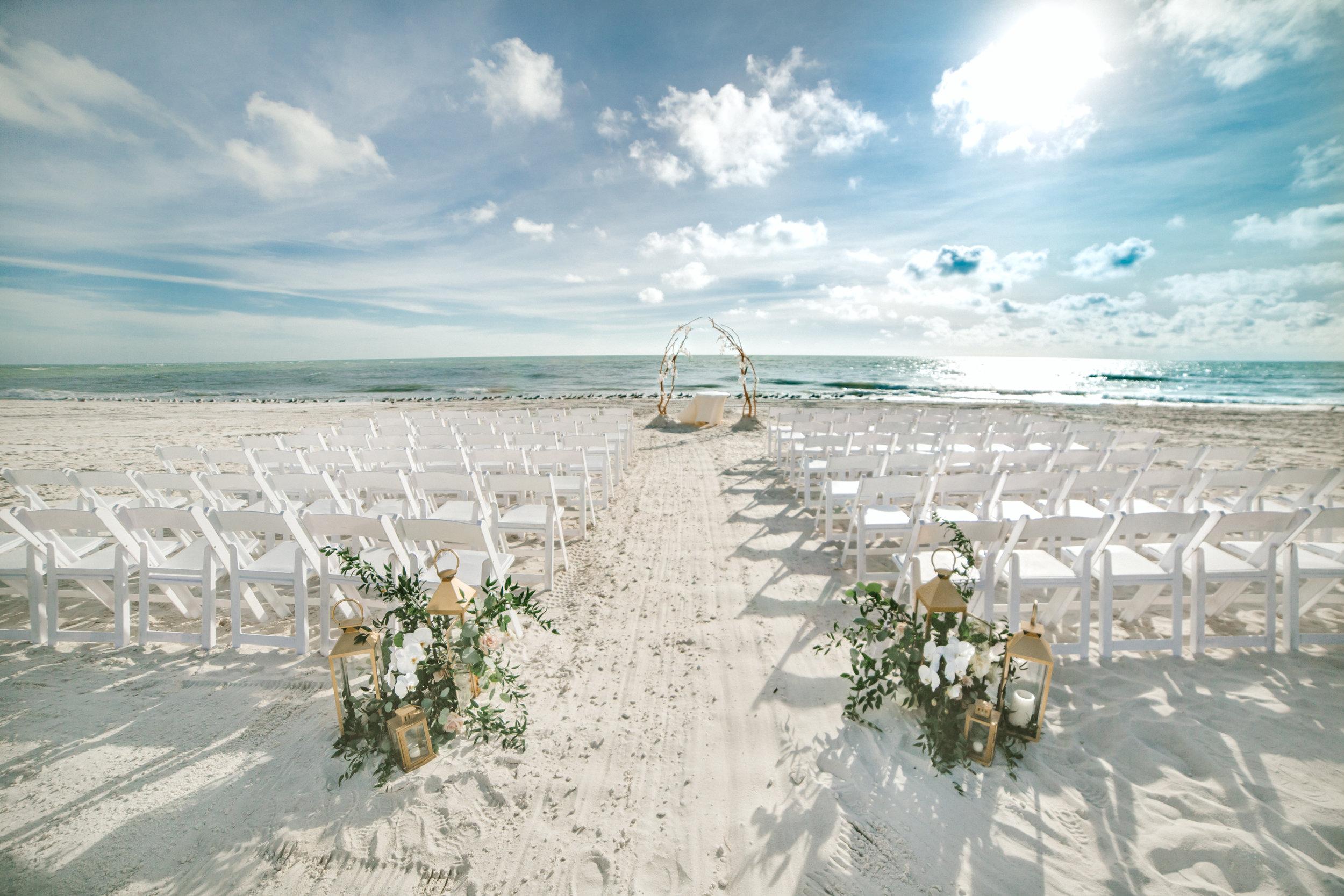 Longboat Key Club wedding ceremony aisle by Victoria Blooms