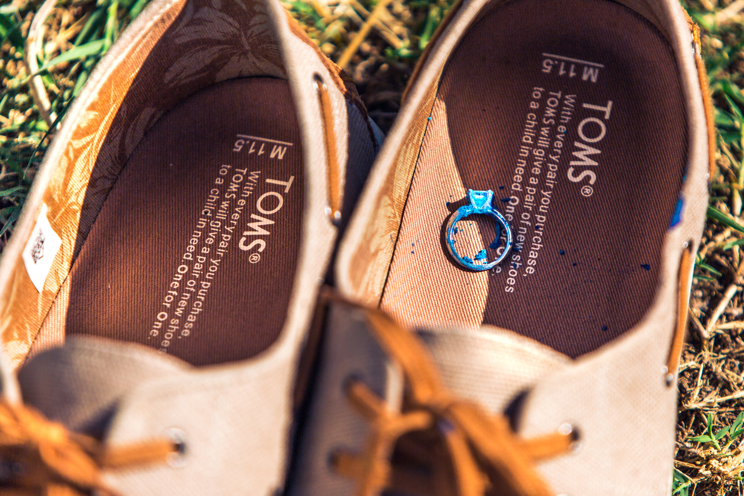 toms shoes with engagement ring in it