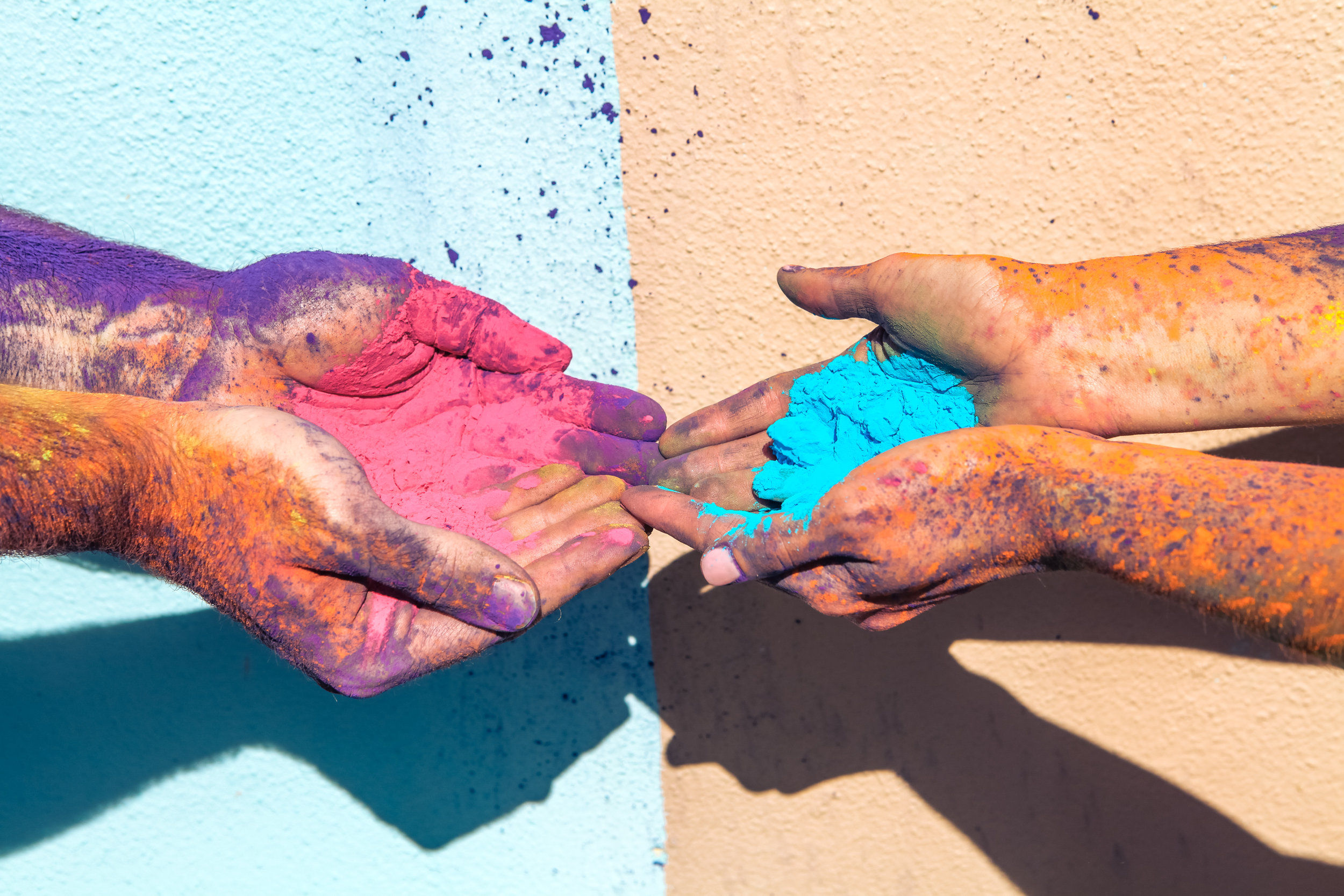 Holi powder gathered in a couple's hands for their engagement session!