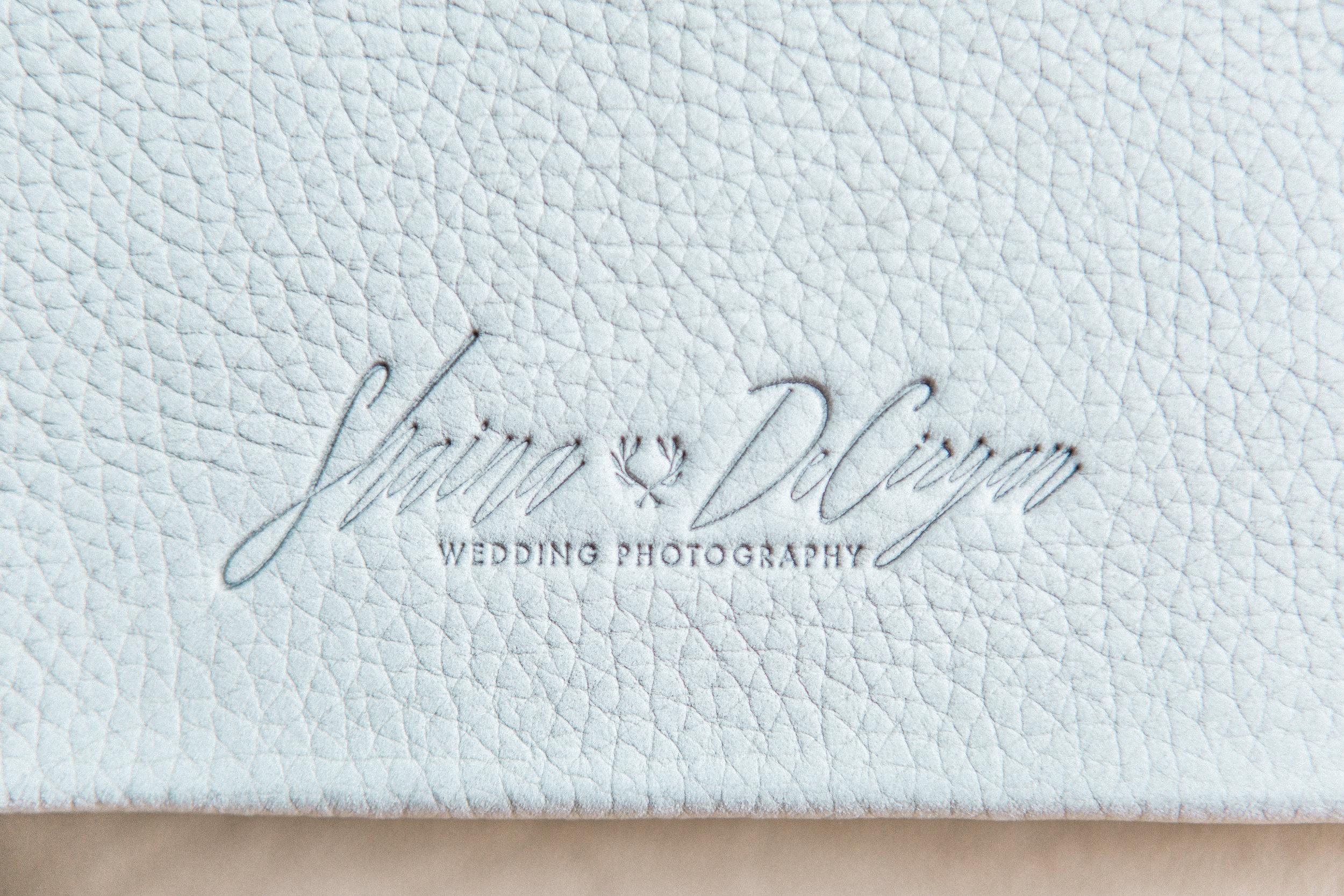 Fog Lux Leather wedding album designed by Winter Park Wedding photographer Shaina DeCiryan