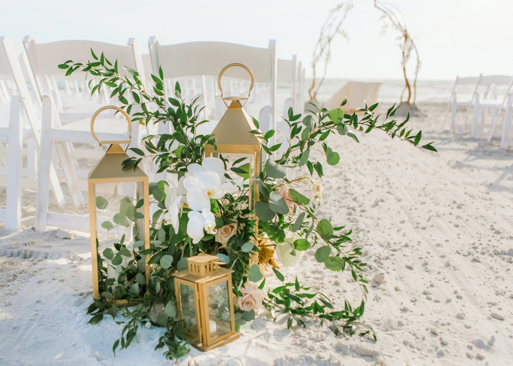 Beach-Wedding-floral-aisle-marker-gold-lanterns-inspiration by Victoria Blooms.jpg