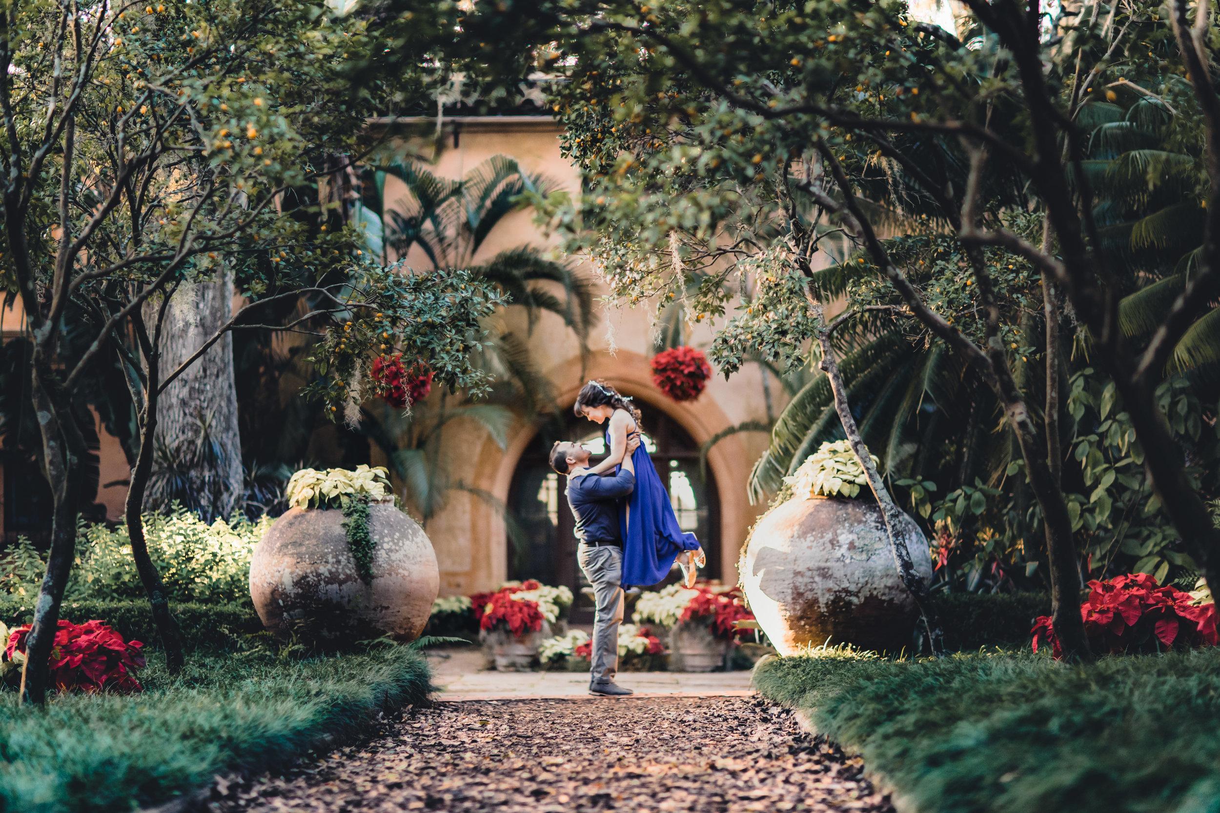 bok tower gardens pinewood estates christmas engagement photography